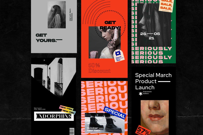 都市风街头潮牌推广新媒体电商海报设计PSD模板素材 Urban Society – Social Media Brand插图(2)