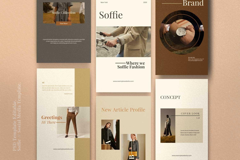 现代时尚服装品牌摄影推广新媒体电商海报模板 Soffie – Fashion Brand Social Media插图(2)