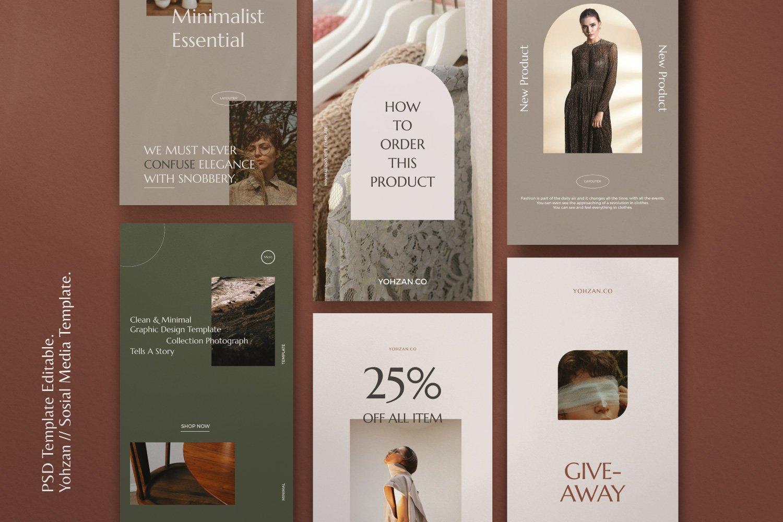 时尚优雅服装品牌推广新媒体电商海报设计PSD模板 Yohzan Instagram Post & Story Brand插图(2)