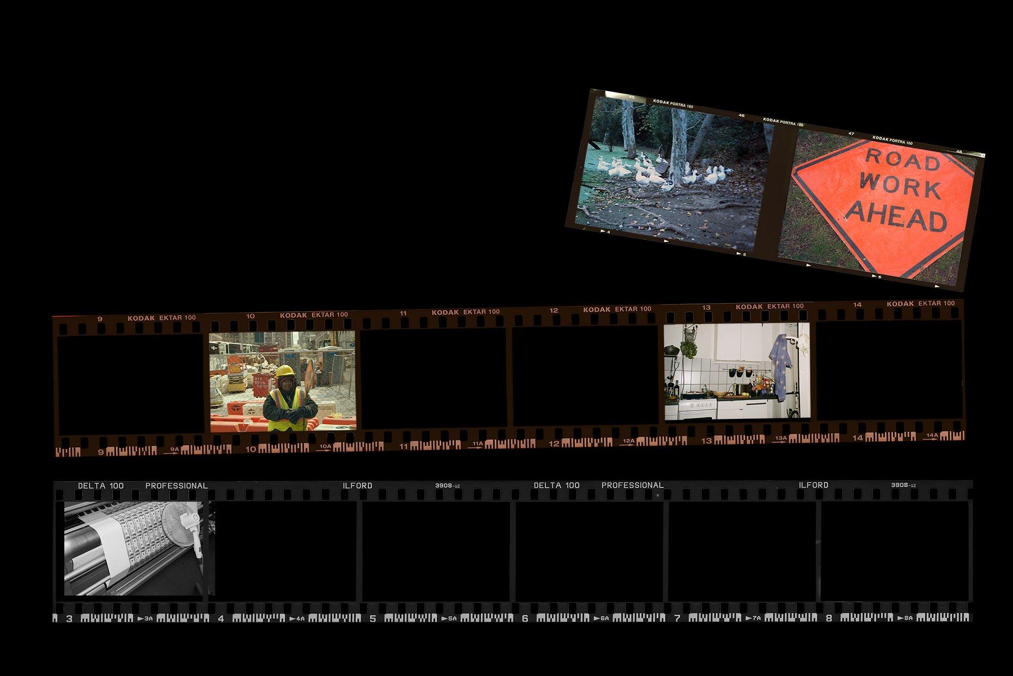 [淘宝购买] 潮流老式胶片胶卷边框图层叠加样机PS设计素材 Contact Sheet Film Roll Mockup插图(1)