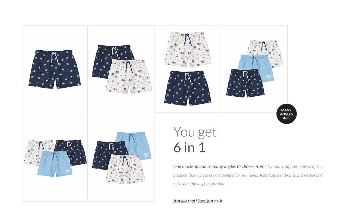 婴儿游泳短裤裤衩印花图案设计展示样机套装 Baby Swimming Shorts Mockups Set插图(2)