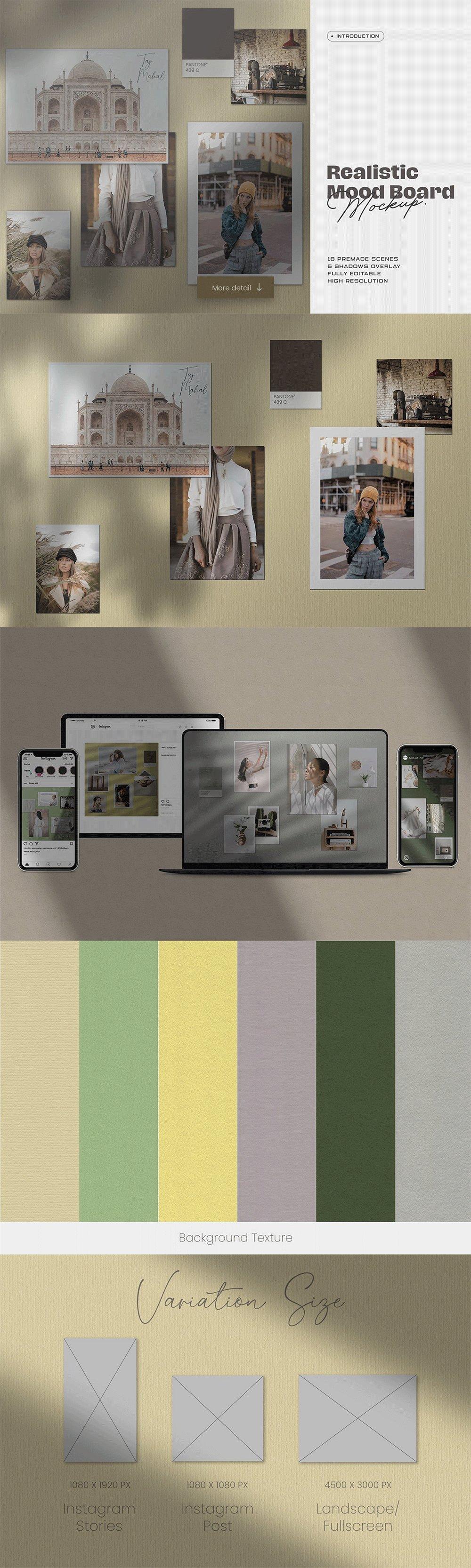 [淘宝购买] 10套文艺情绪板摄影相片卡片拼贴设计PSD源文件 Bundle Moodboard Mockup V2插图(2)