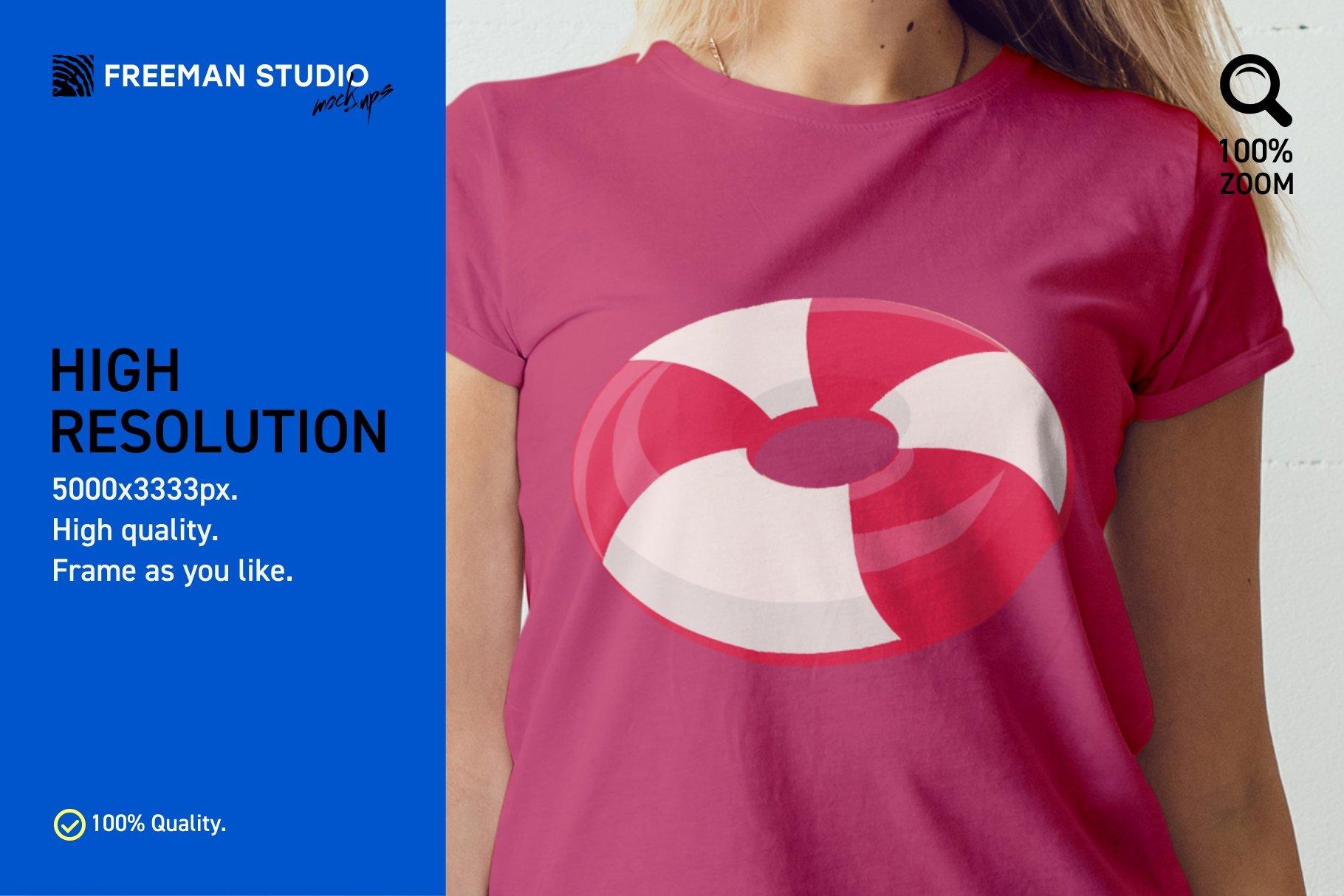 12个女式T恤半袖衫印花图案设计展示样机模板 T-Shirt Mockup Set插图(2)