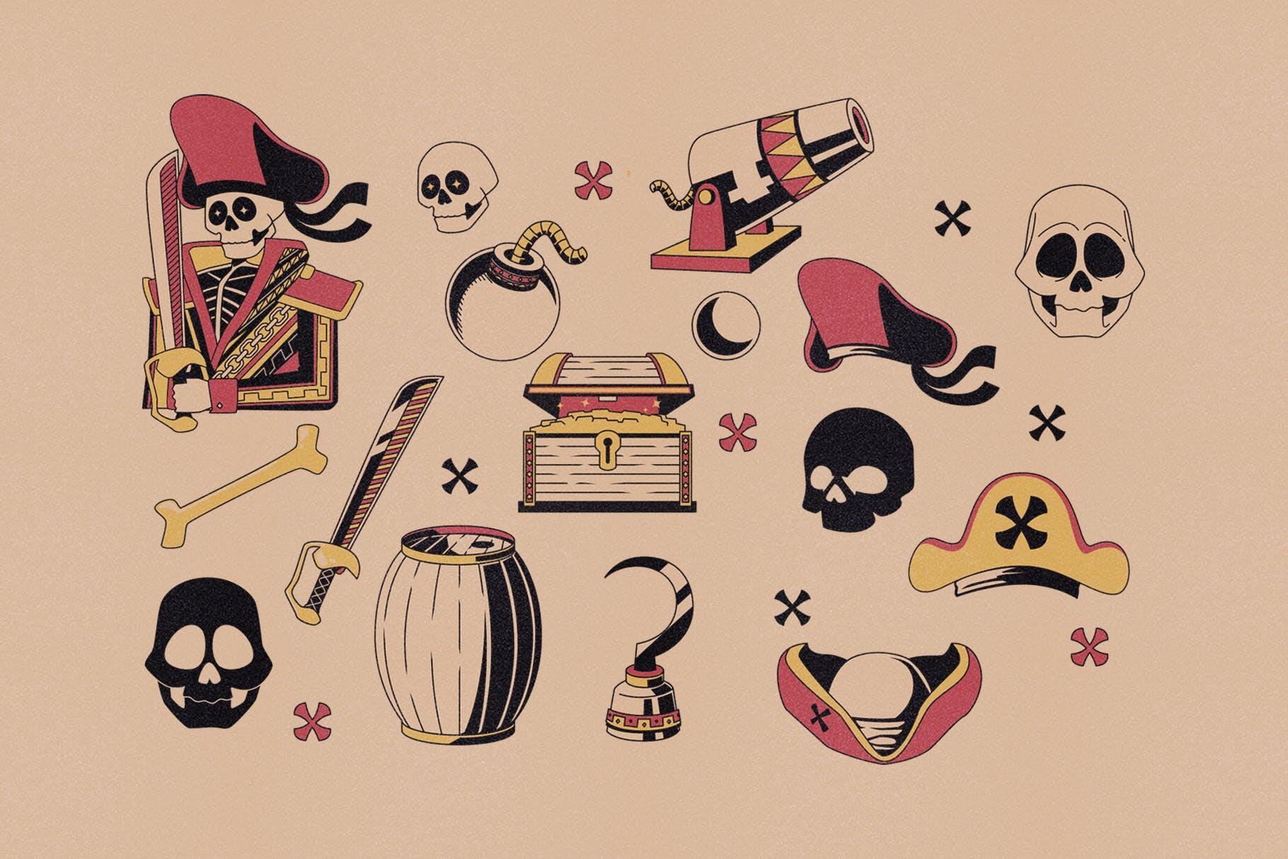 海盗元素徽标LOGO插图设计矢量素材 Illustration & Logo Pack V1插图(2)