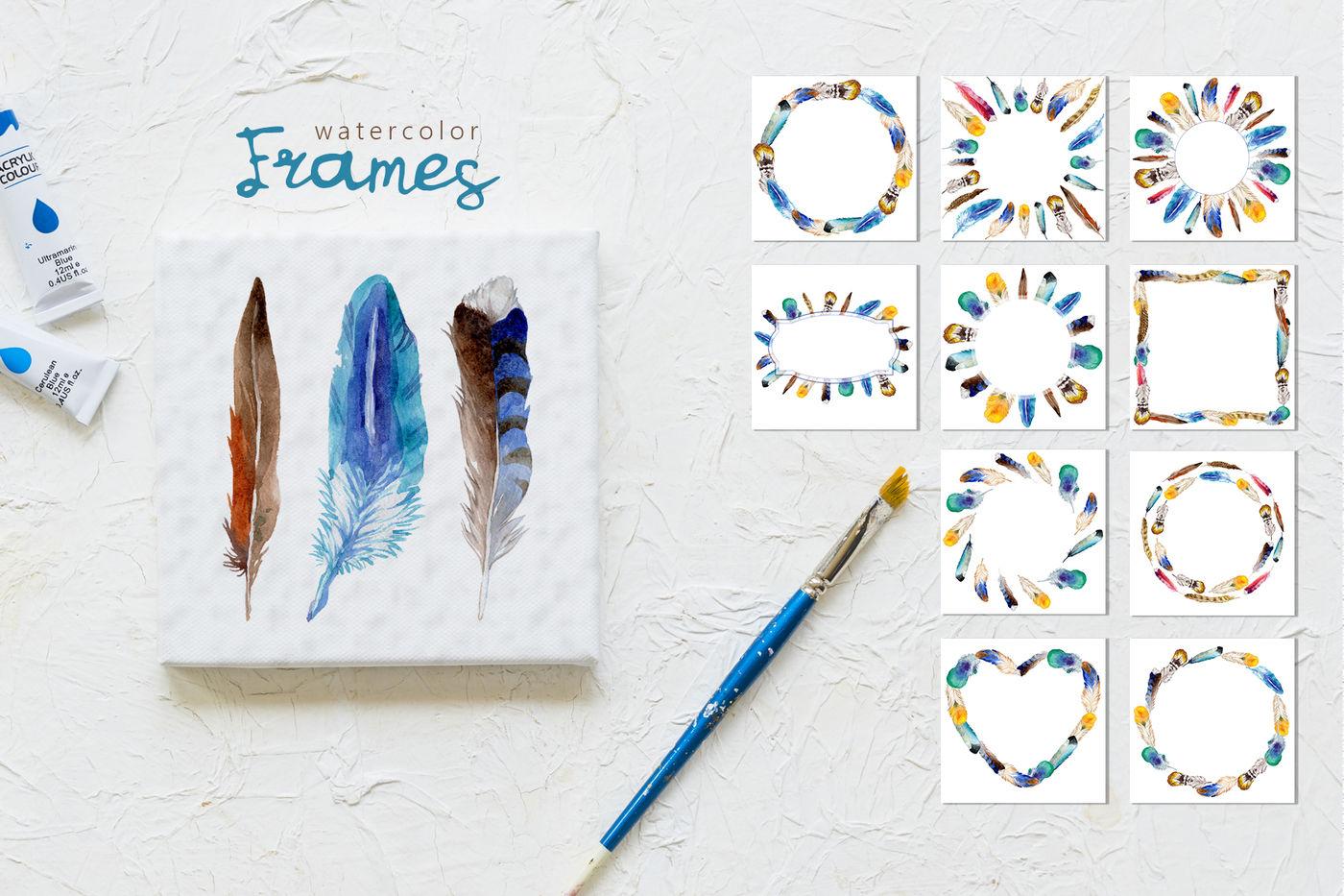 55款羽毛手绘水彩剪贴画PNG免抠透明图片素材 Feather Watercolor Png插图(2)