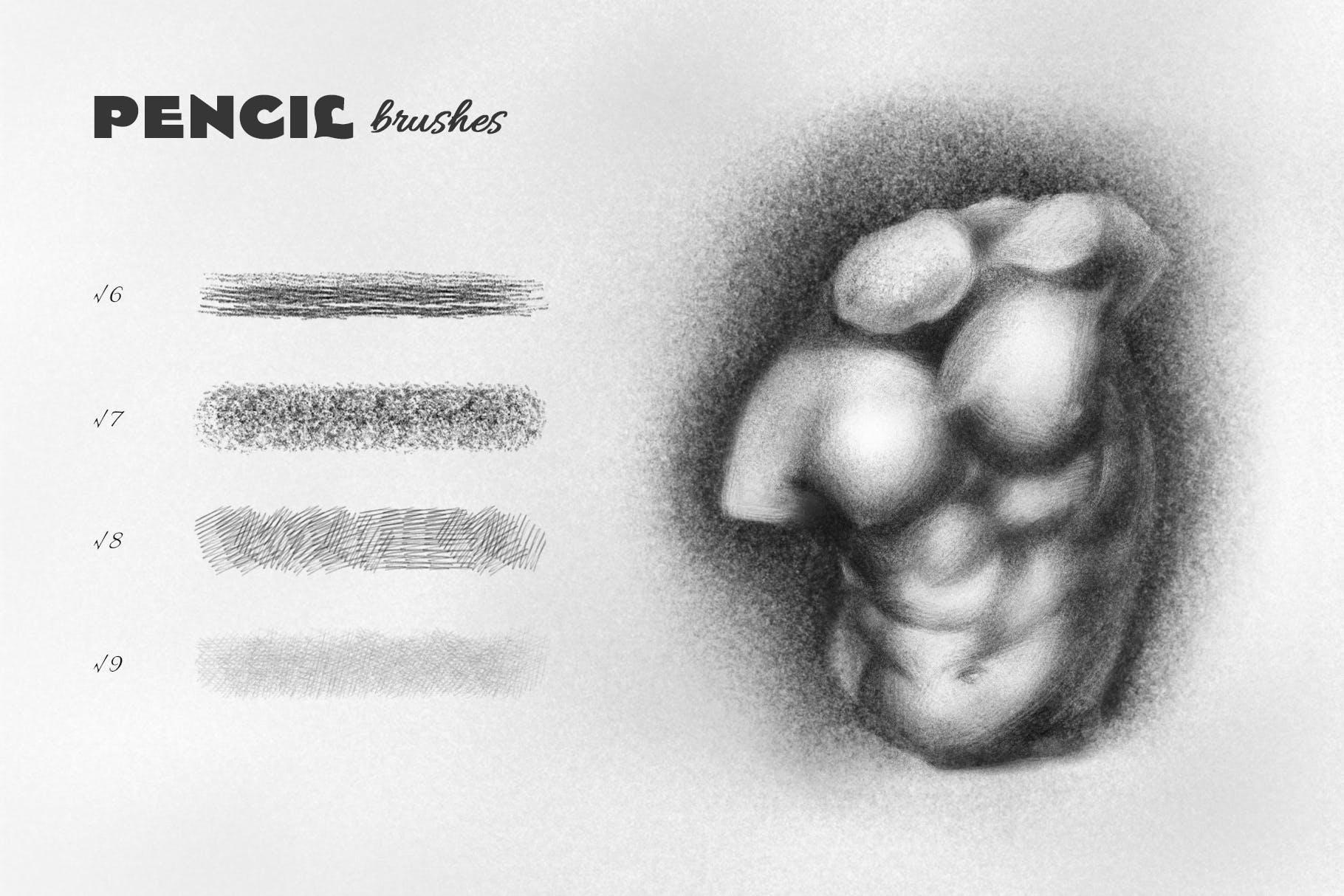 25款专业铅笔素描草图绘画PS笔刷素材套装 Pencil Photoshop Brushes插图(2)
