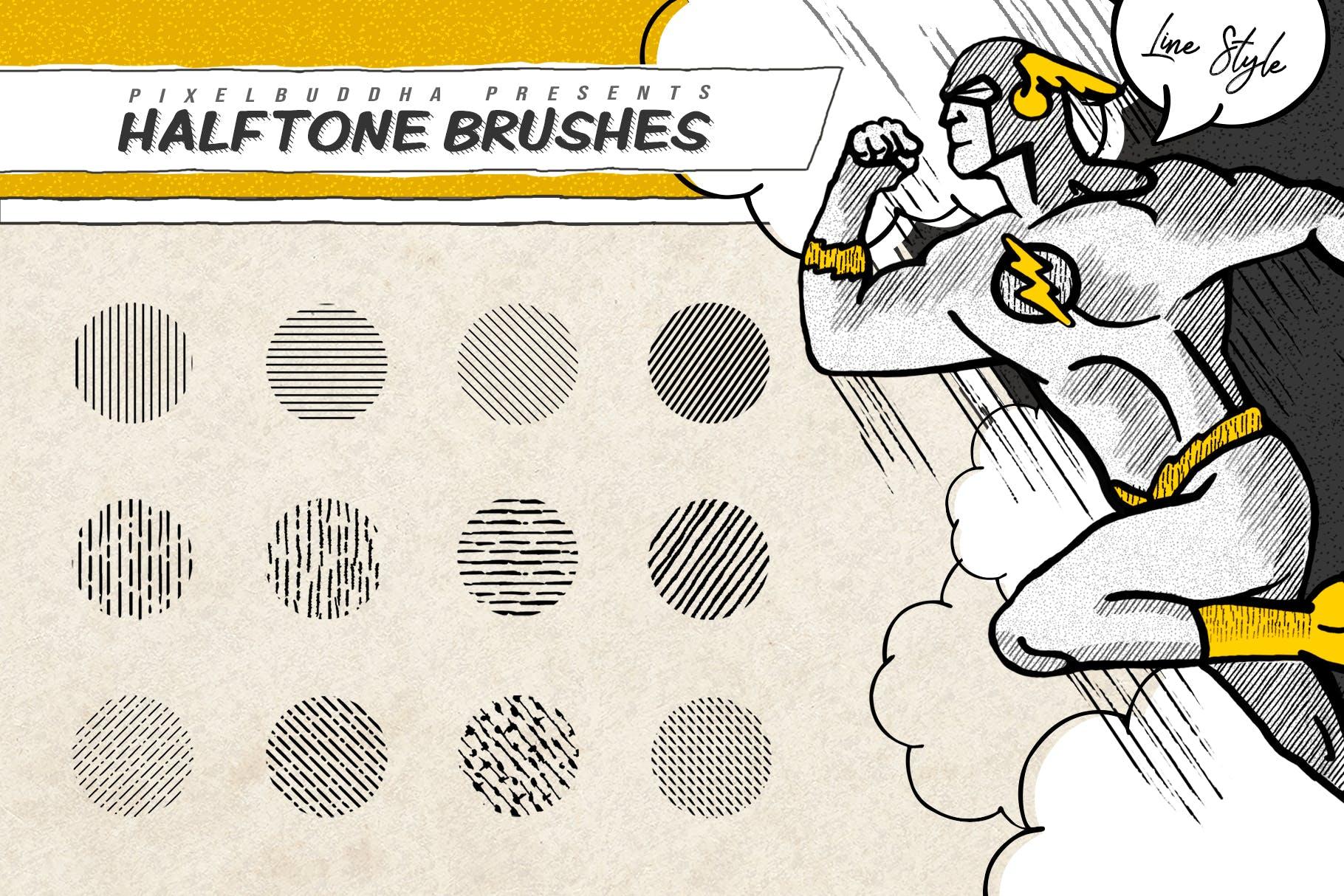 21款复古半调磨损线条画笔Procreate笔刷素材 Vintage Comics: Line Procreate Brushes插图(2)