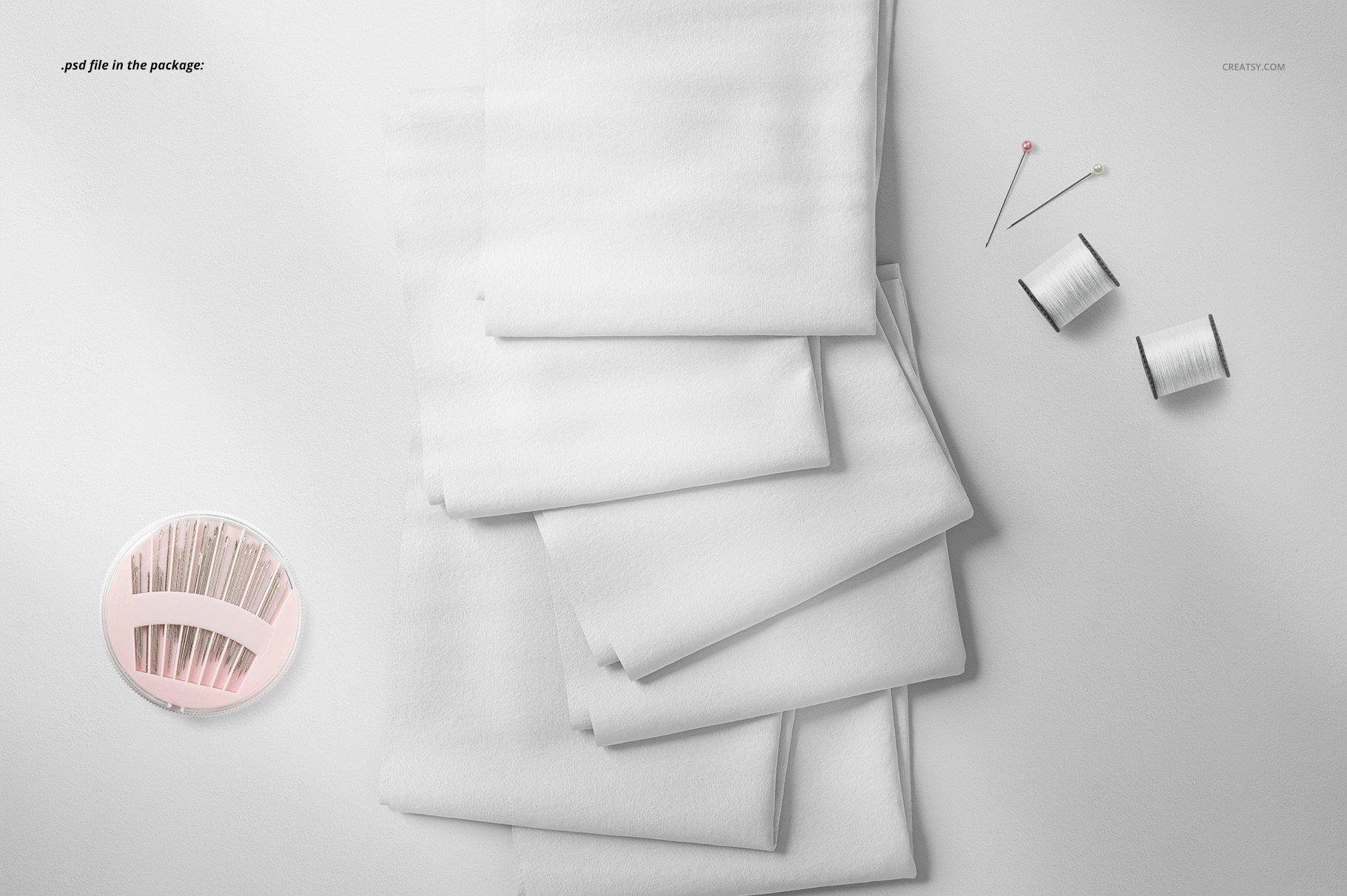 折叠纺织物布料图案印花设计展示贴图样机 Folded Fabrics Mockup 29/FF v.6插图(3)