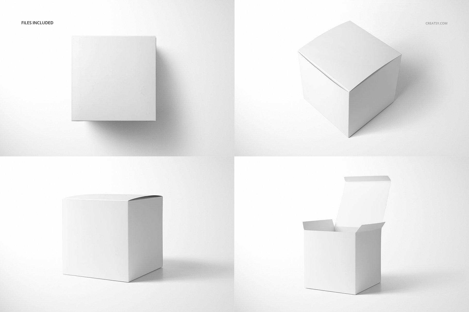 方形哑光产品礼品包装纸盒设计贴图样机套装 Matte Gift Square Box Mockup Set插图(2)