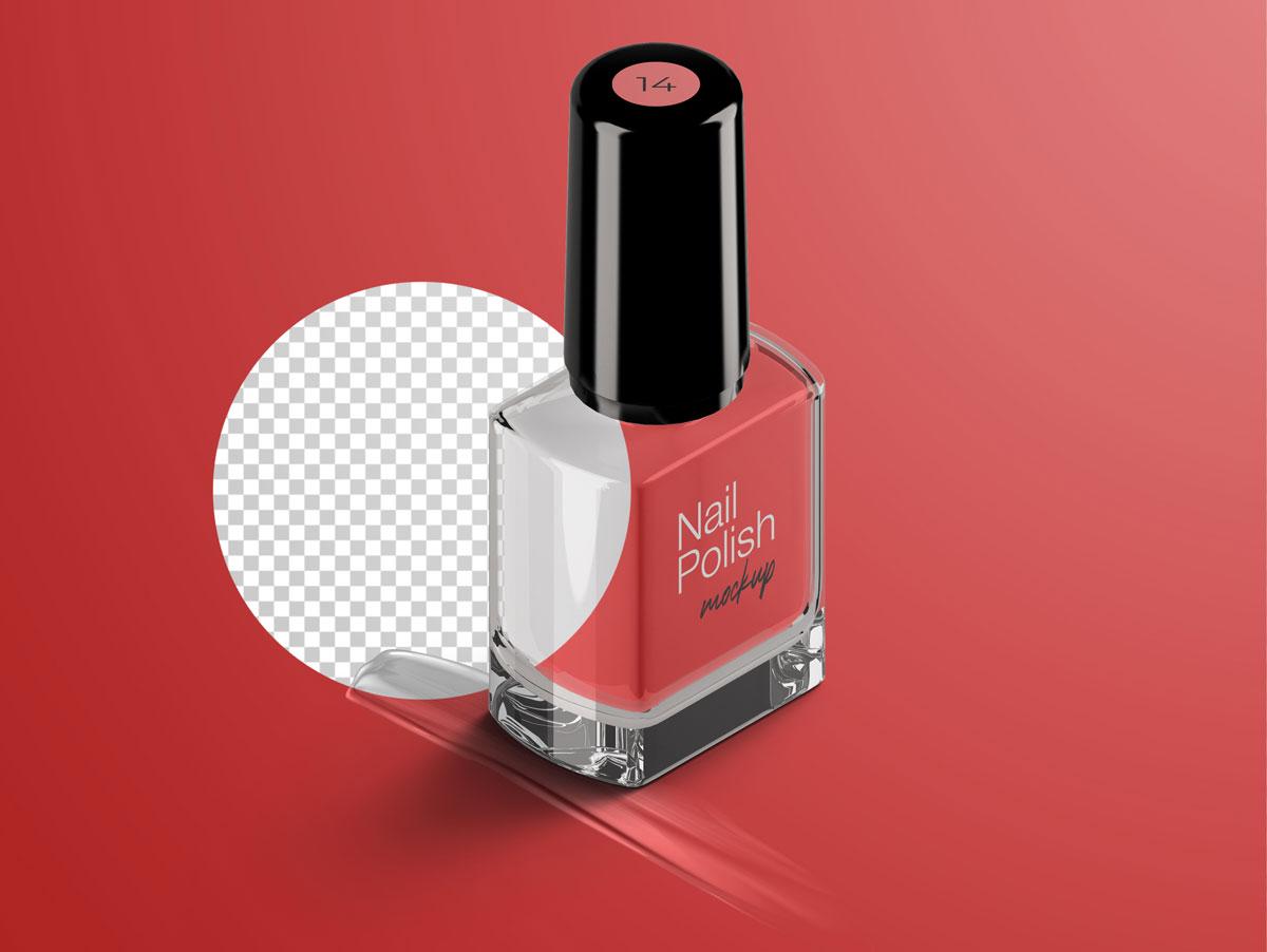 8款指甲油玻璃包装瓶设计展示样机模板 Nail Polish Bottle Mockup Pack插图(5)
