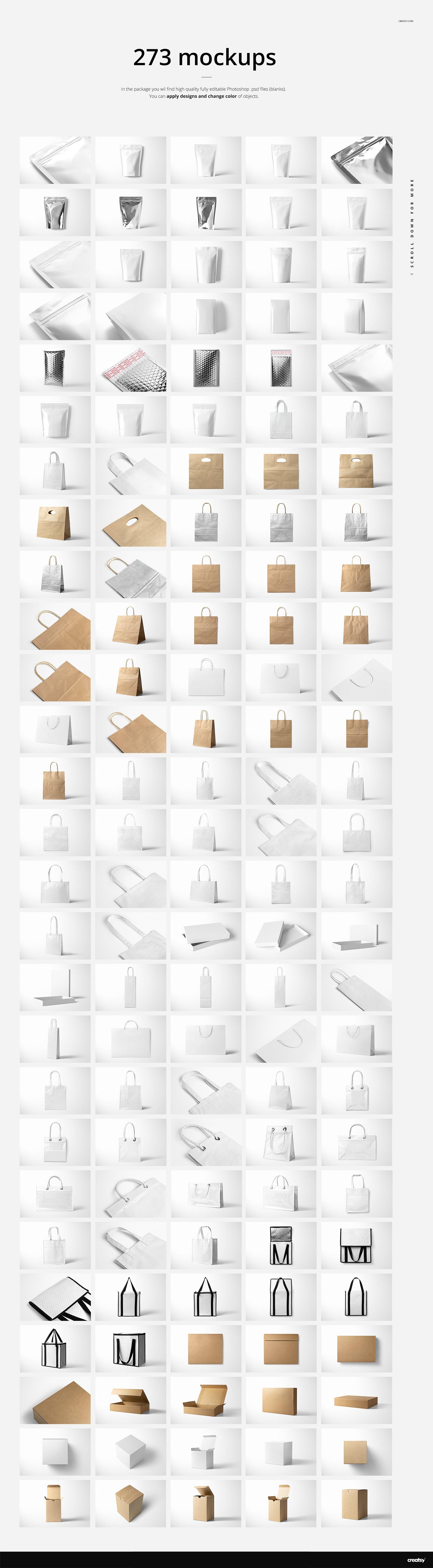 [淘宝购买] 273款时尚购物手提纸袋快递气泡塑料袋纸箱设计贴图PSD样机 Printhouse Mockups Bundle v.1插图(3)