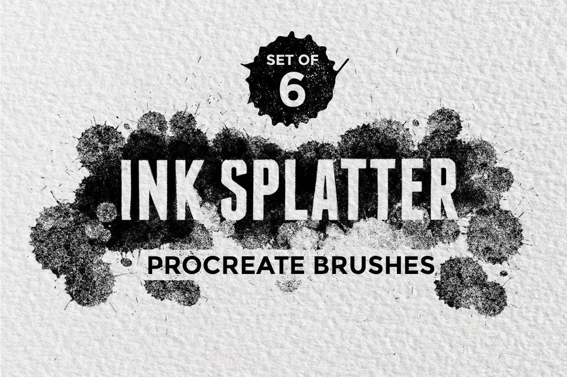 6款手绘水彩水墨绘画Precreate笔刷 Ink Splatter Procreate Brushes插图