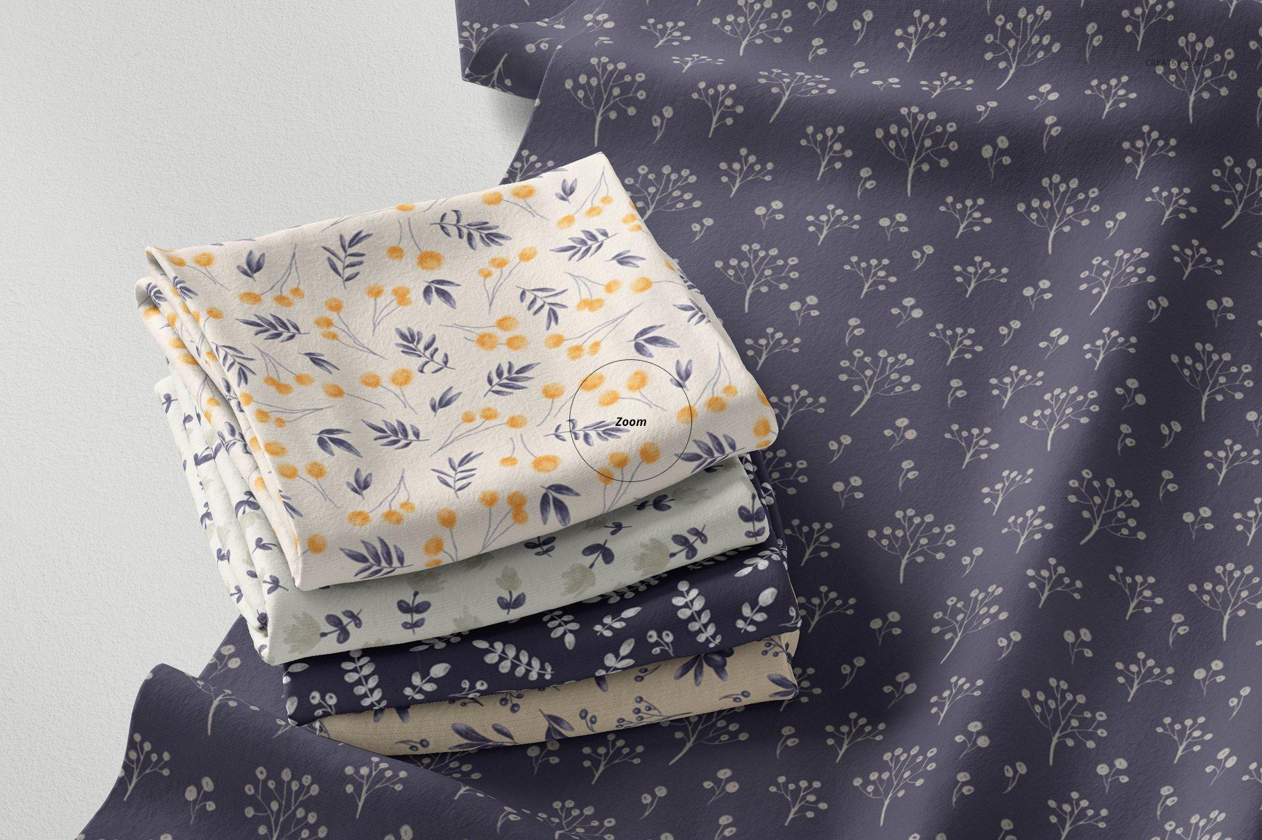折叠织物面料印花图案设计贴图样机PSD模板 Folded Fabrics Mockup 28/FF v.6插图(4)
