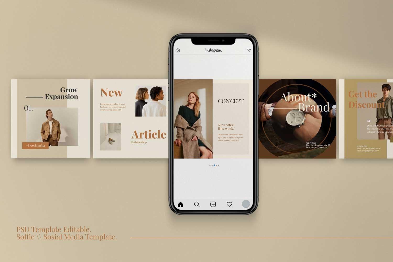 现代时尚服装品牌摄影推广新媒体电商海报模板 Soffie – Fashion Brand Social Media插图(3)