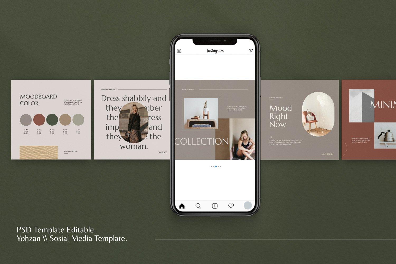 时尚优雅服装品牌推广新媒体电商海报设计PSD模板 Yohzan Instagram Post & Story Brand插图(3)