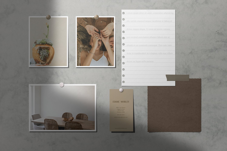 现代时尚剪贴相片情绪版卡片设计展示智能贴图样机模板 Moodboard Mockup Kit插图(3)