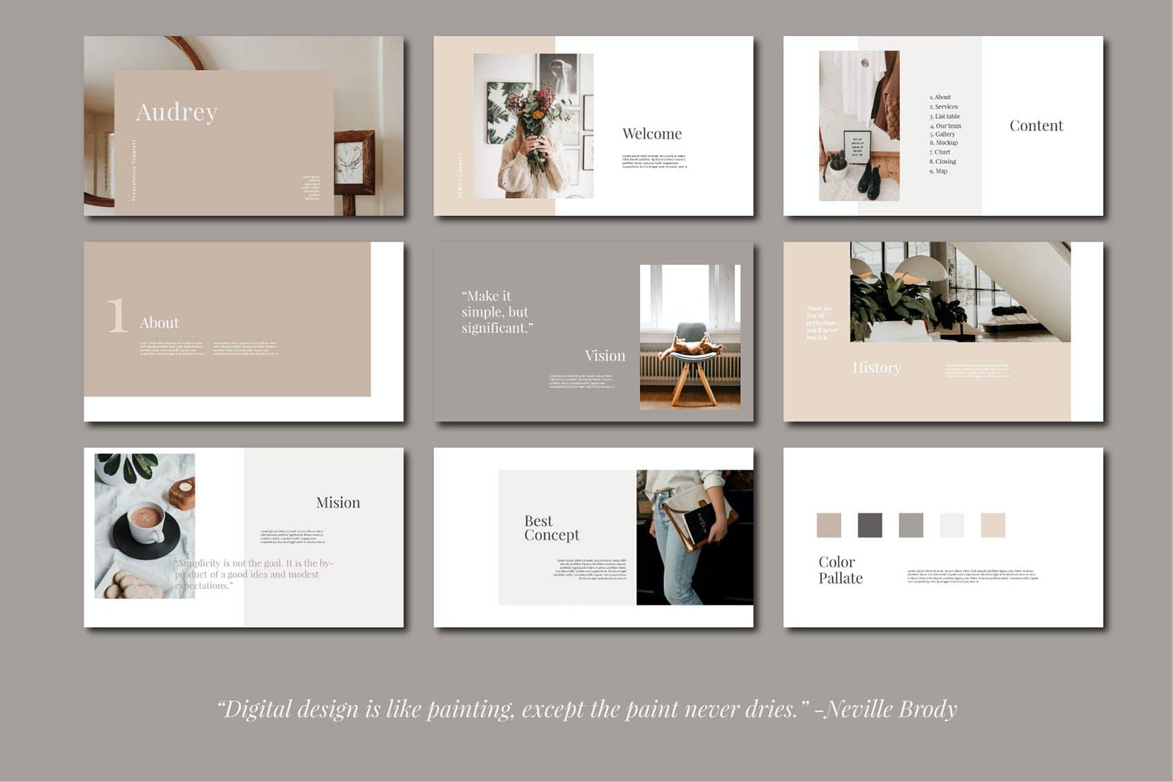 时尚简约摄影作品集图文排版设计演示文稿模板 Audrey – Powerpoint Template插图(3)