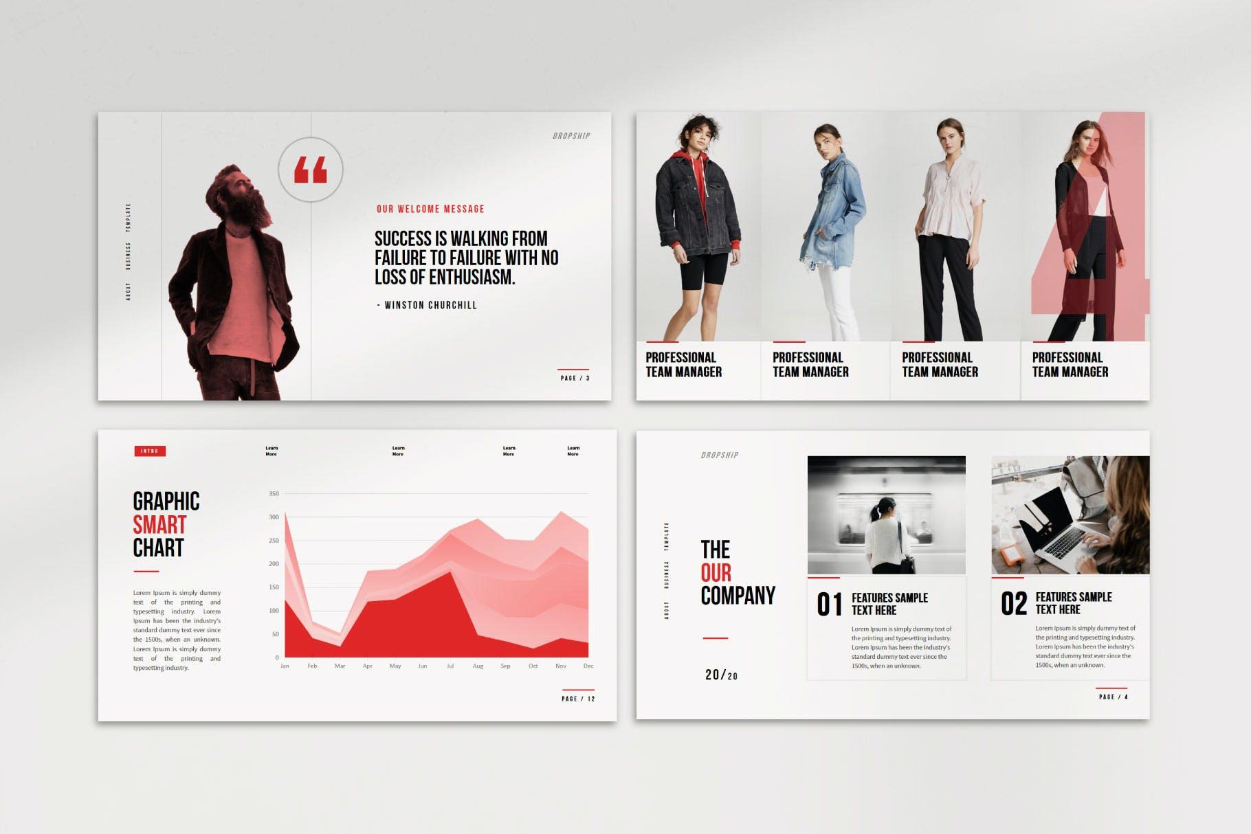 简约服装摄影作品集演示文稿设计模板 Dropship – Powerpoint Template插图(3)