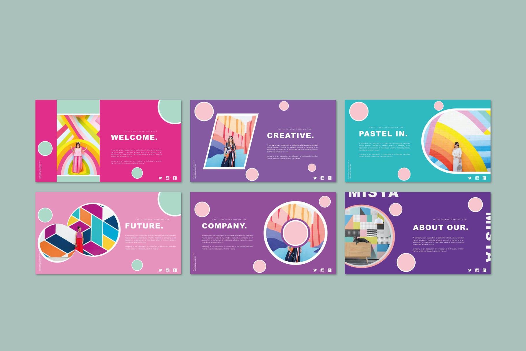 时尚多彩策划案图文排版设计演示文稿模板 Misya – Powerpoint Template插图(3)