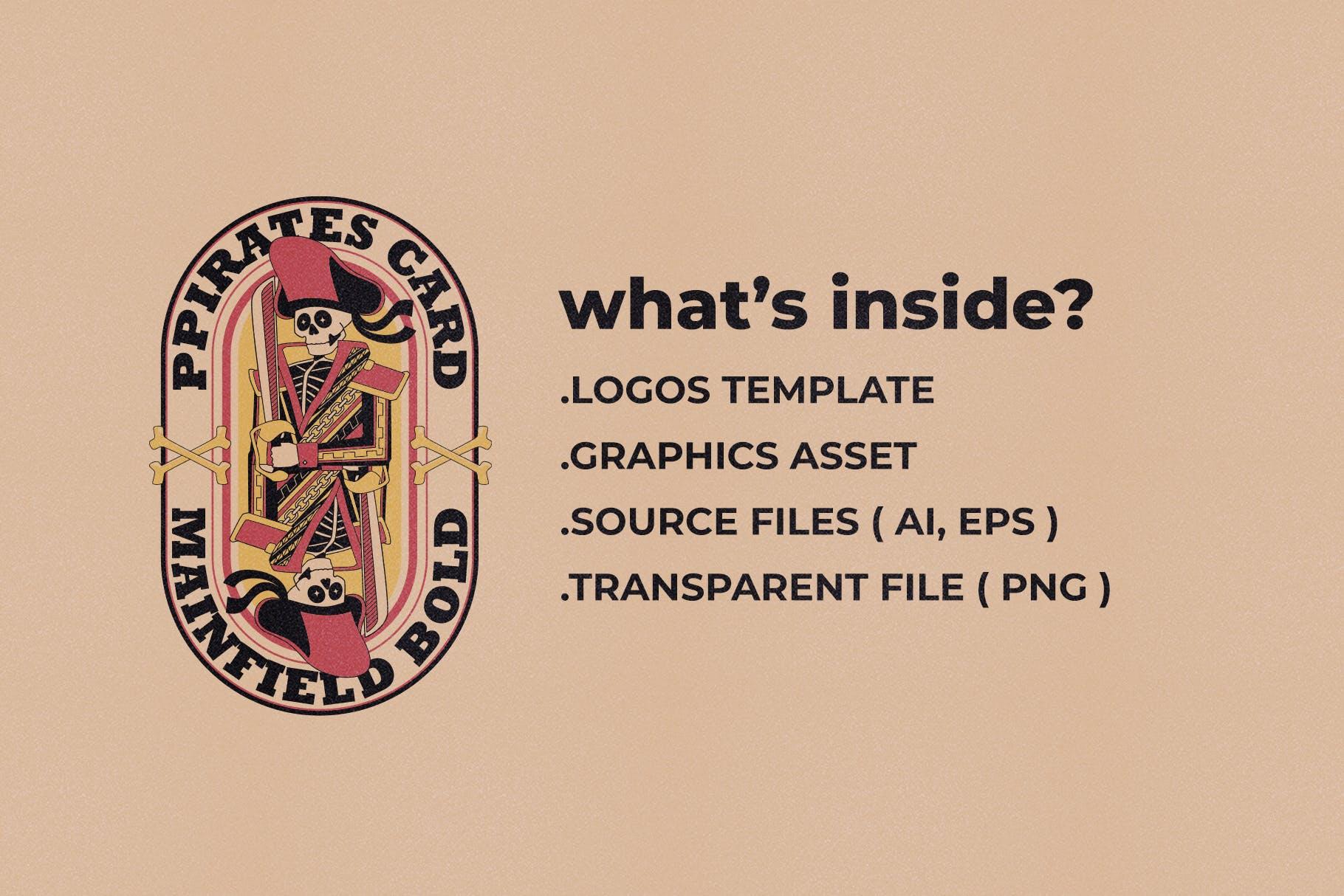 海盗元素徽标LOGO插图设计矢量素材 Illustration & Logo Pack V1插图(3)