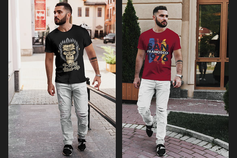8款都市风男士T恤半袖衫印花设计展示贴图样机 T-Shirt Mockup Stylish Men插图(3)