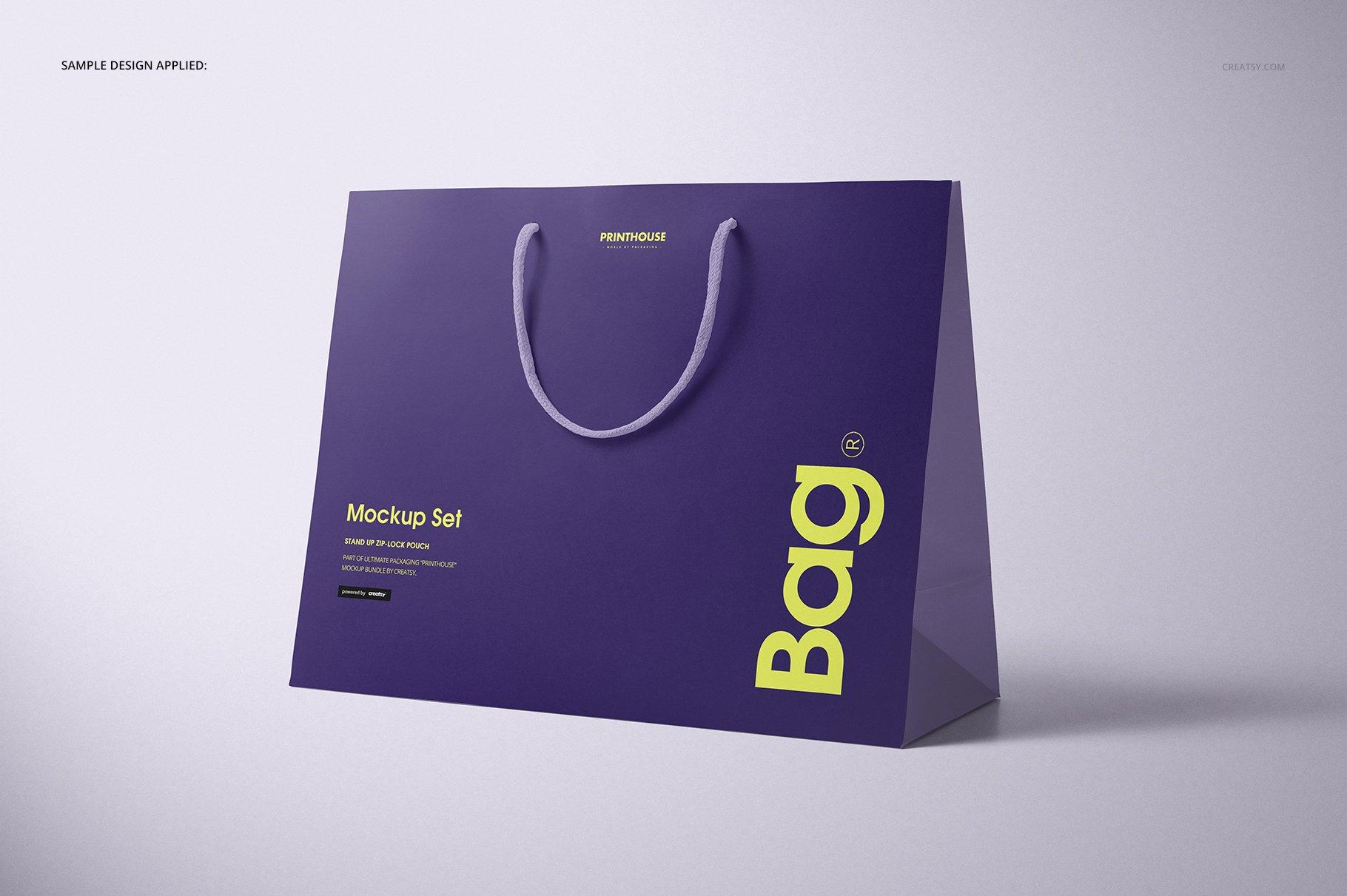 极简购物手提纸袋设计展示贴图样机PS设计素材 Eurotote Bag Mockup Set 1插图(5)