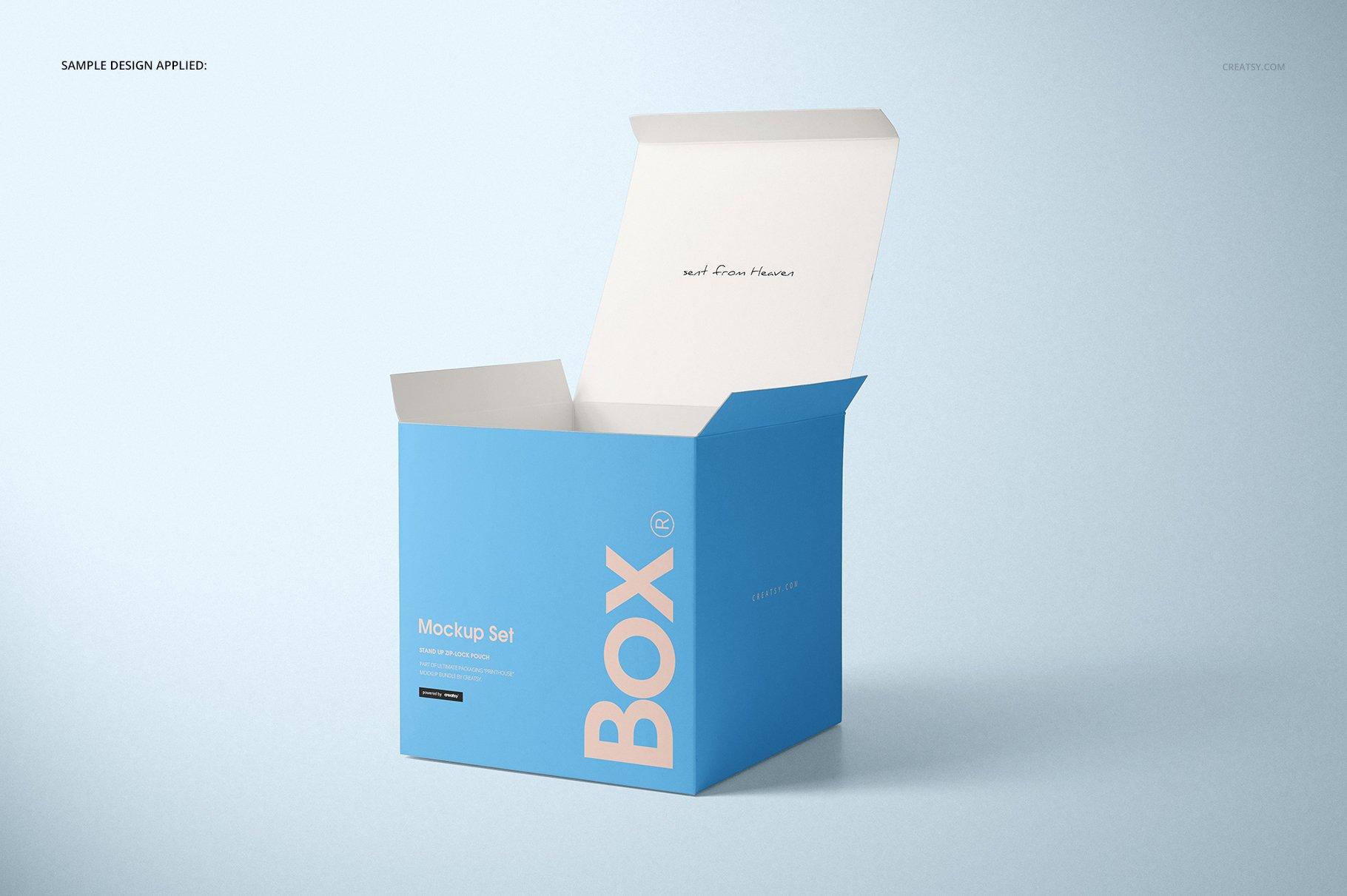 方形哑光产品礼品包装纸盒设计贴图样机套装 Matte Gift Square Box Mockup Set插图(3)