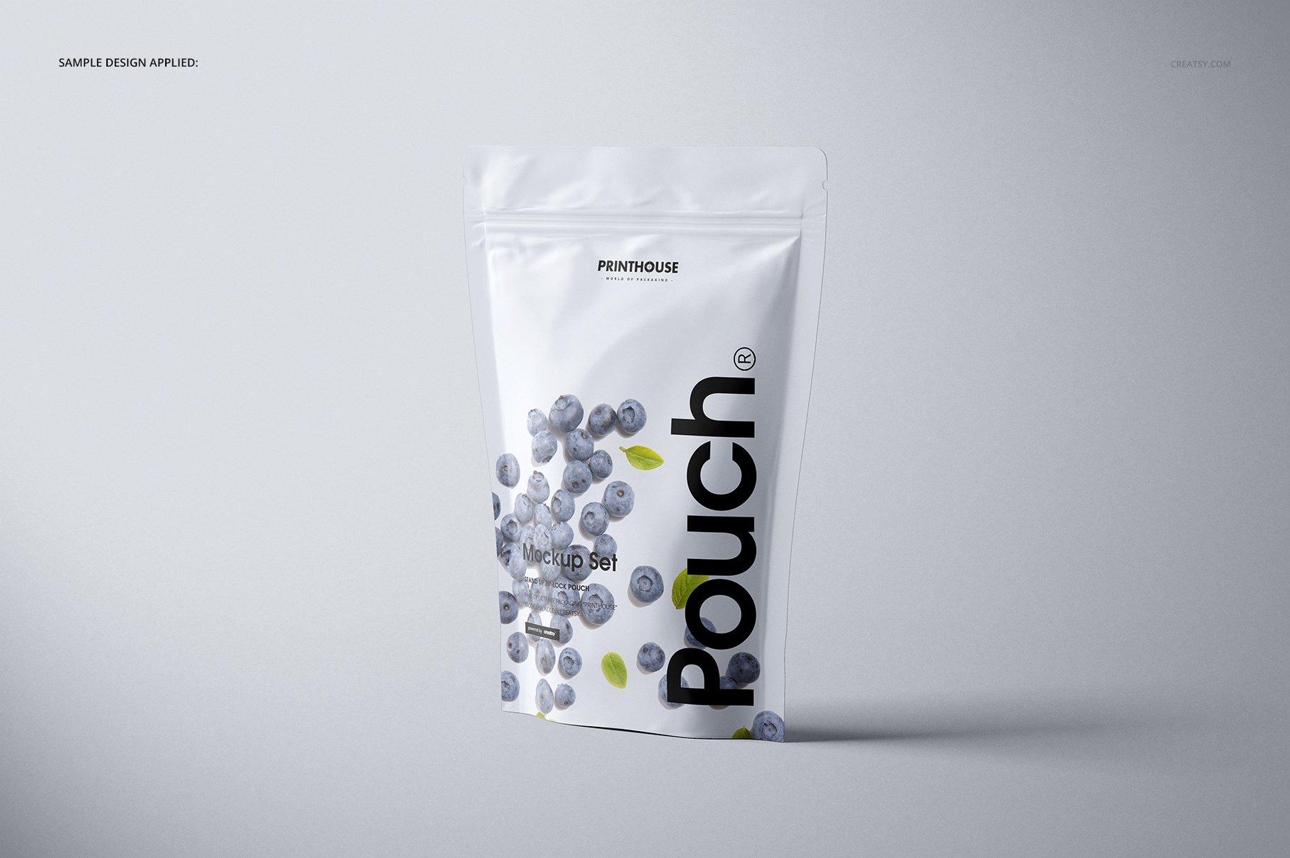简约立式拉链锁食品自封袋塑料袋设计展示样机合集 Stand Up Pouch (mat) Mockup Set插图(4)