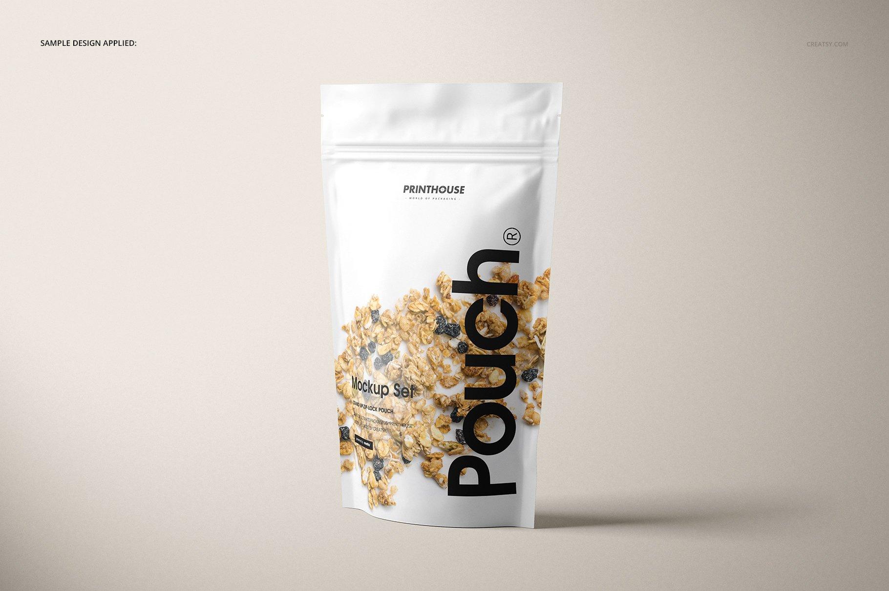 简约立式拉链锁食品自封袋塑料袋设计展示样机合集 Stand Up Pouch Mockup Set 2插图(4)