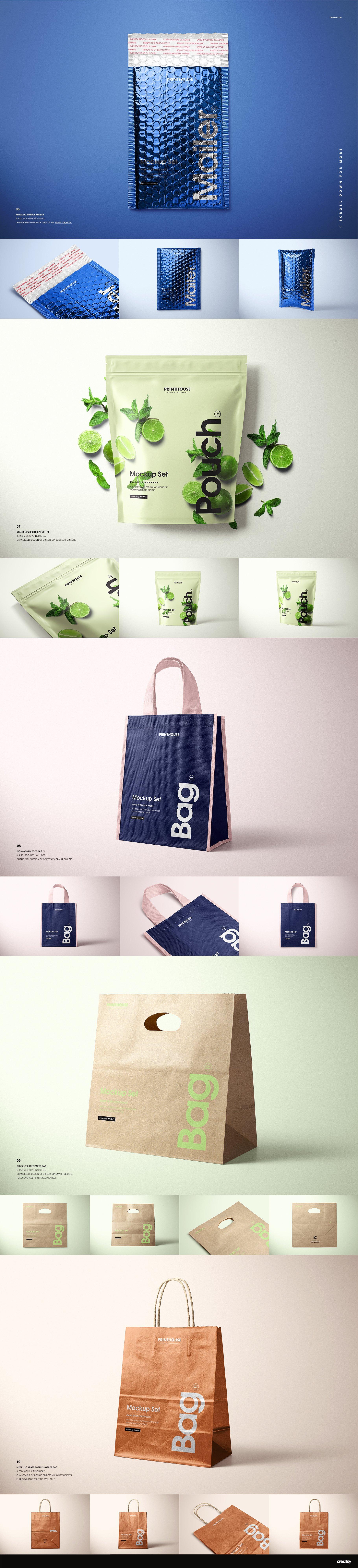 [淘宝购买] 273款时尚购物手提纸袋快递气泡塑料袋纸箱设计贴图PSD样机 Printhouse Mockups Bundle v.1插图(6)