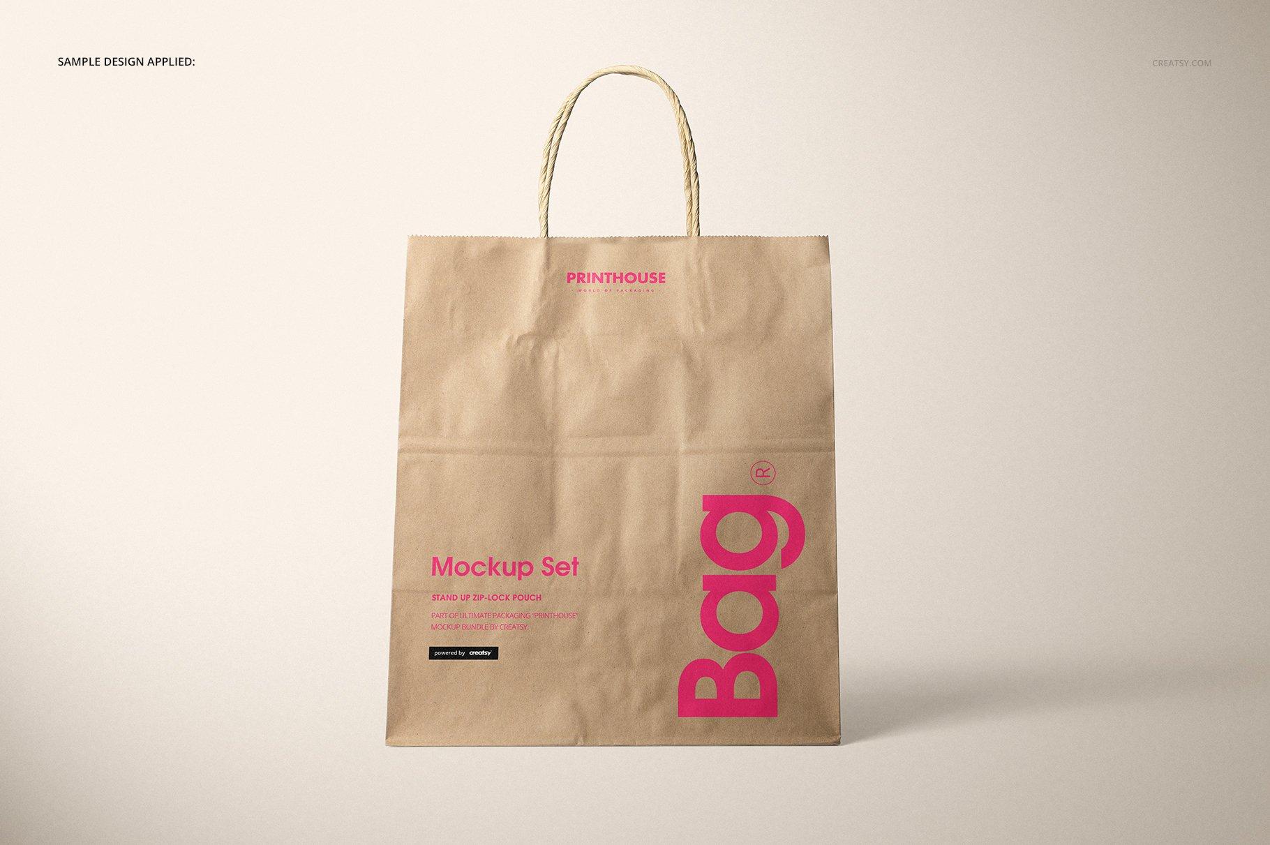 [淘宝购买] 时尚牛皮纸购物手提纸袋设计贴图样机模板 Natural Kraft Shopping Bag Mockup 2插图(5)