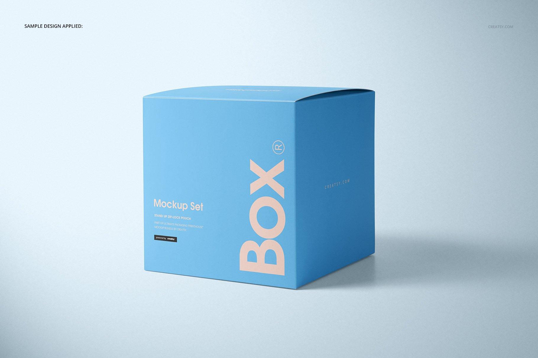 方形哑光产品礼品包装纸盒设计贴图样机套装 Matte Gift Square Box Mockup Set插图(4)