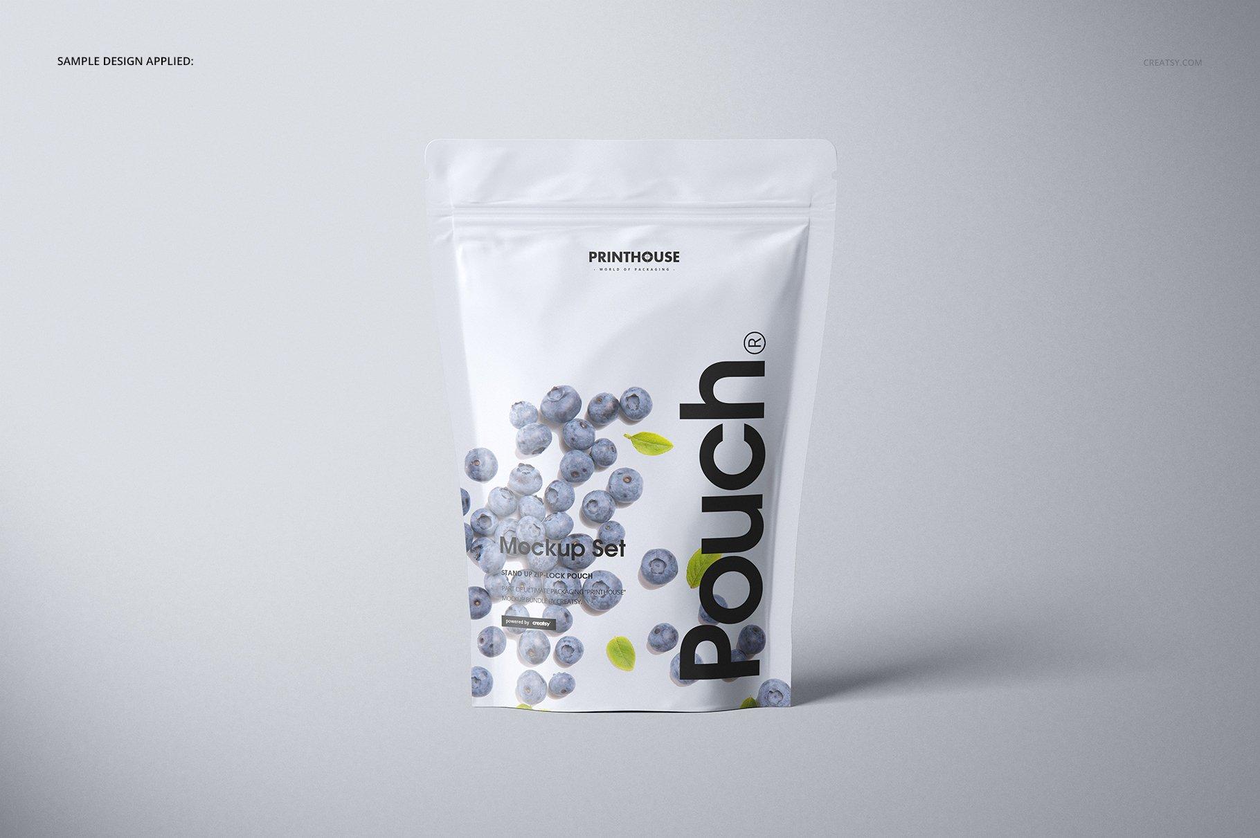 简约立式拉链锁食品自封袋塑料袋设计展示样机合集 Stand Up Pouch (mat) Mockup Set插图(5)