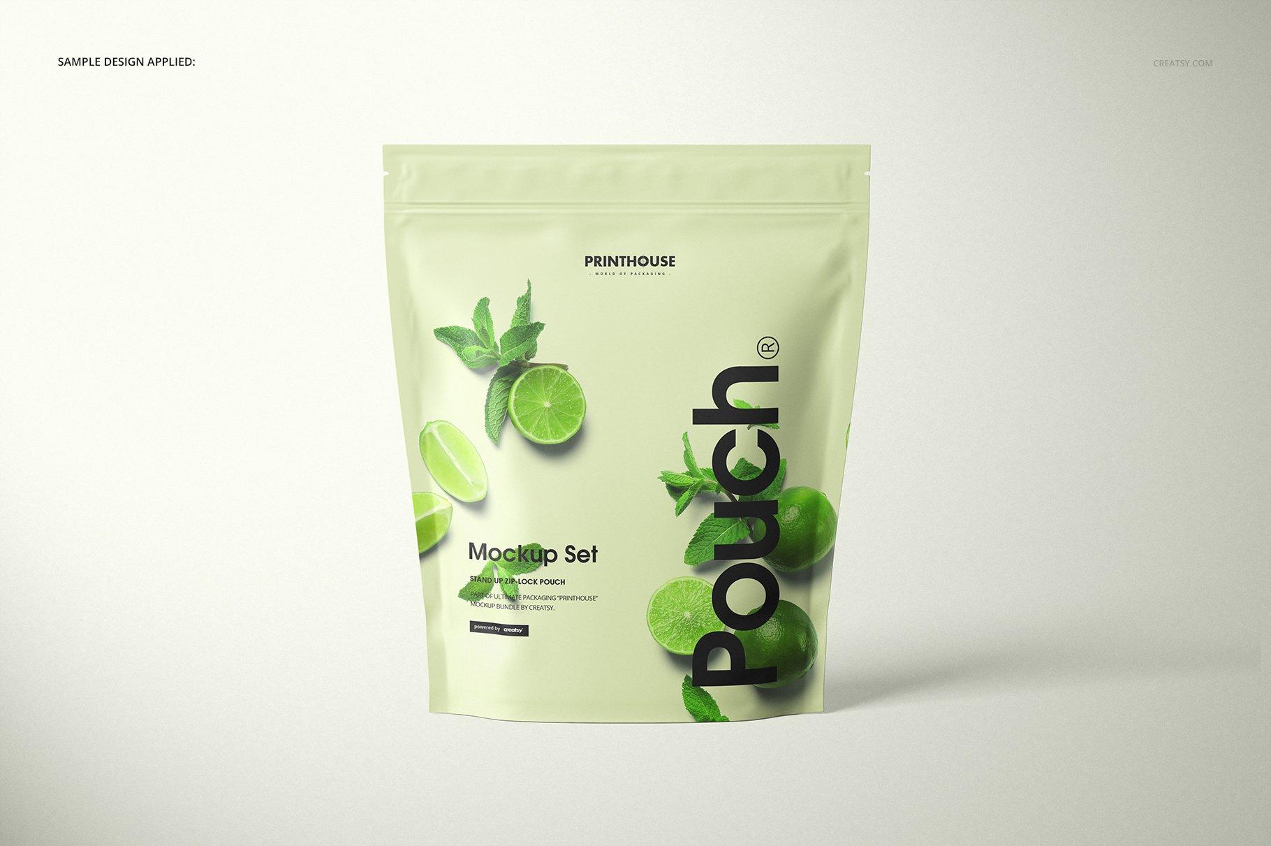 自立袋拉链锁自封袋塑料袋设计展示样机模板合集 Stand Up Zip Lock Pouch Mockup Set 3插图(5)