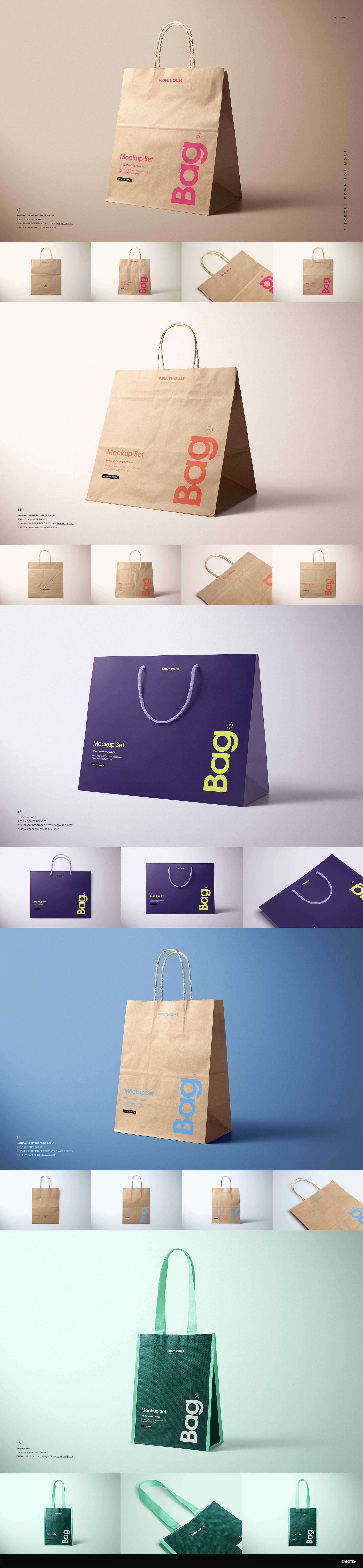 [淘宝购买] 273款时尚购物手提纸袋快递气泡塑料袋纸箱设计贴图PSD样机 Printhouse Mockups Bundle v.1插图(7)