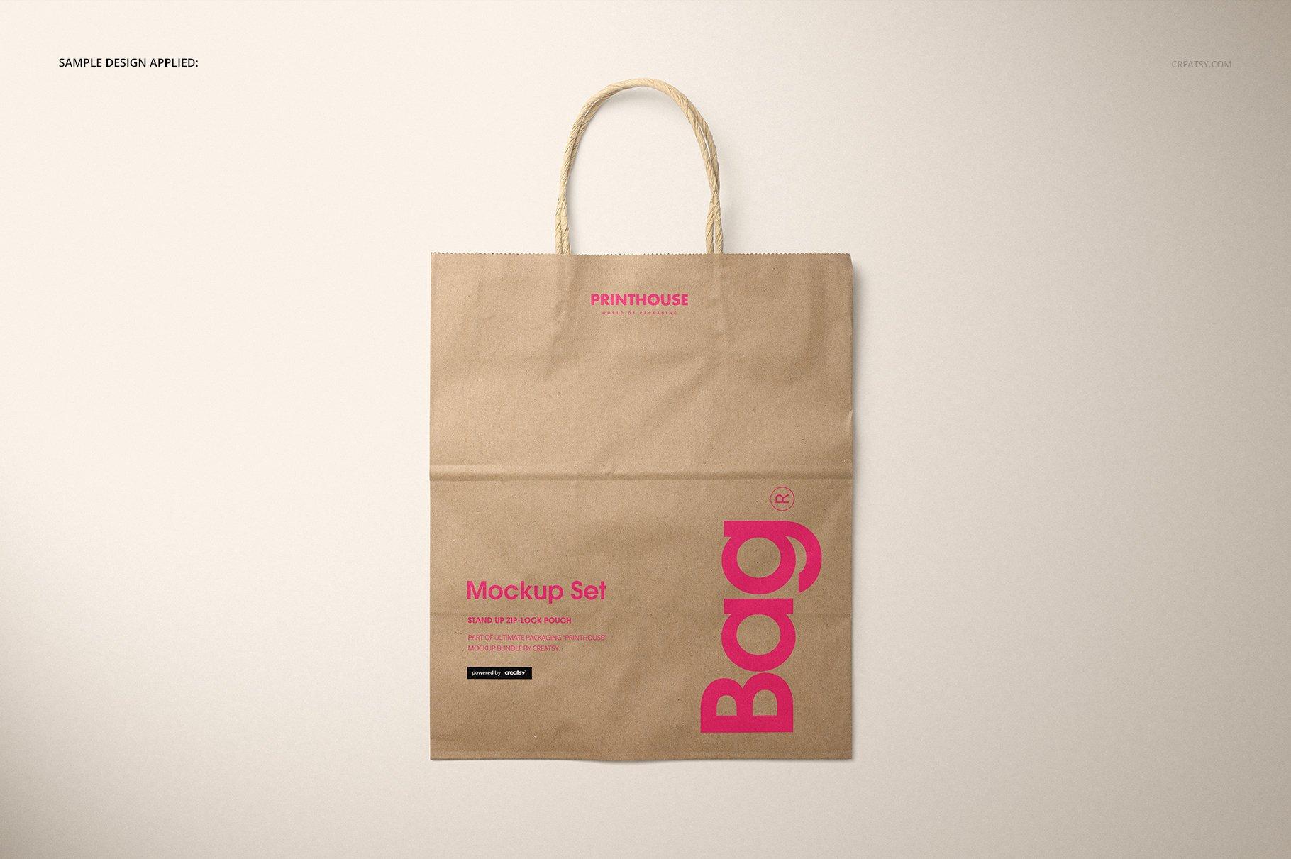 [淘宝购买] 时尚牛皮纸购物手提纸袋设计贴图样机模板 Natural Kraft Shopping Bag Mockup 2插图(6)