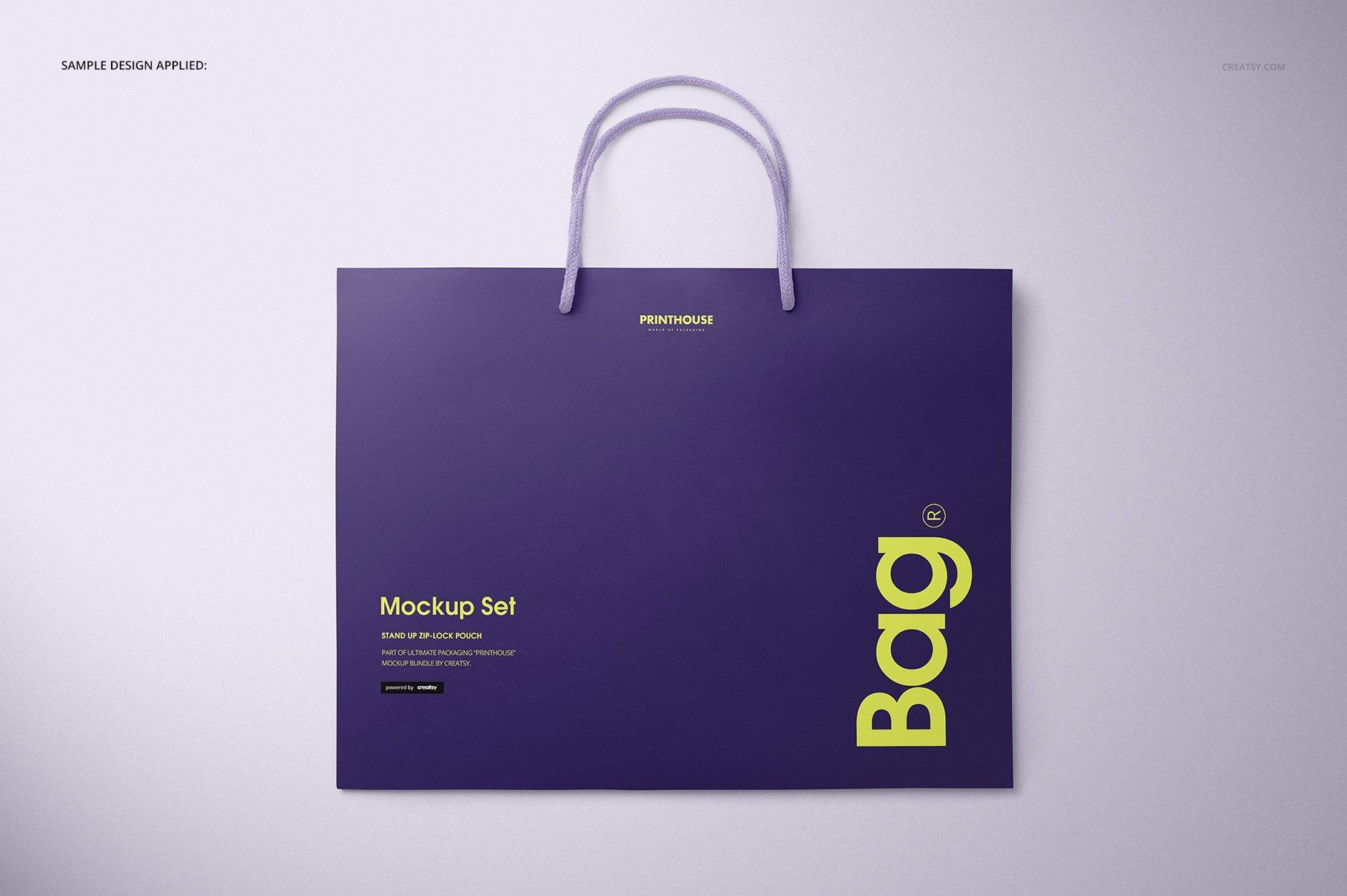 极简购物手提纸袋设计展示贴图样机PS设计素材 Eurotote Bag Mockup Set 1插图(7)