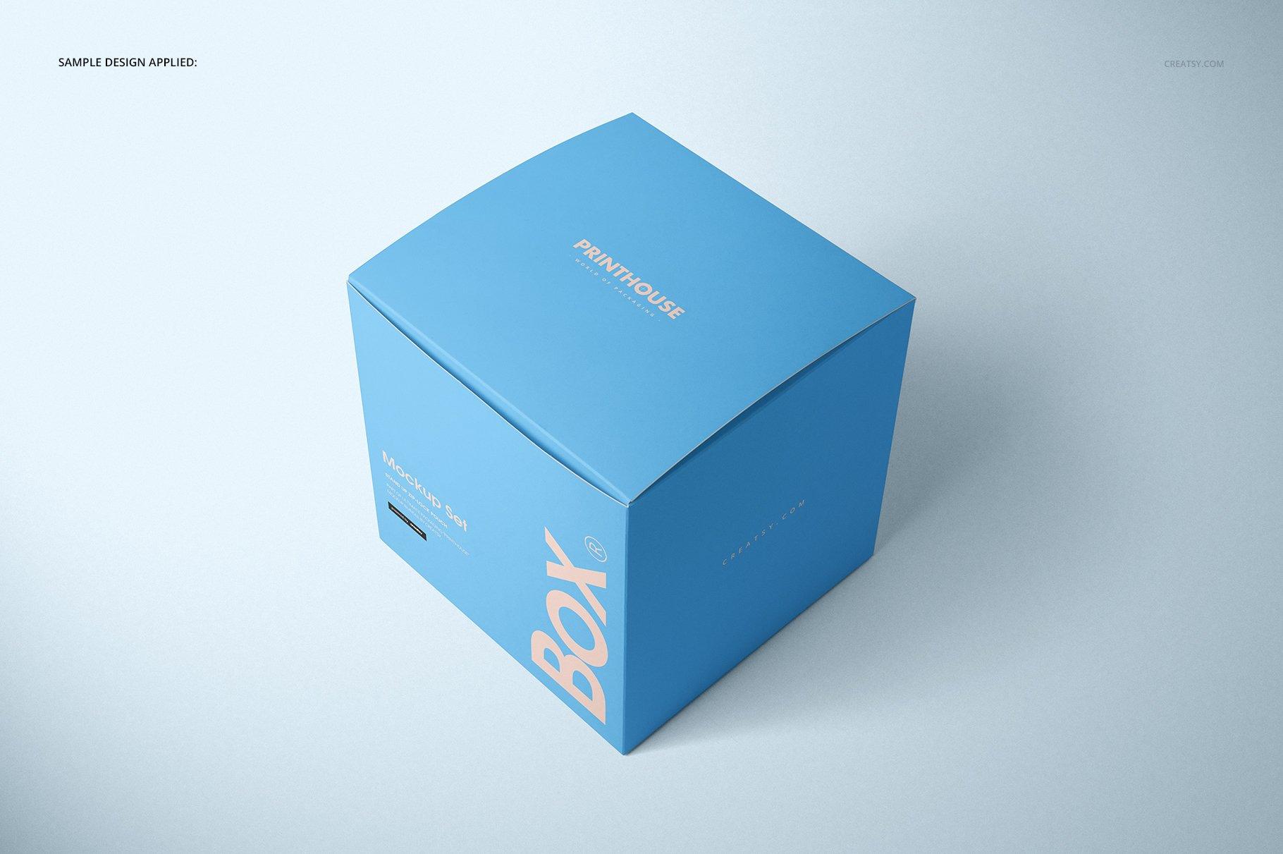 方形哑光产品礼品包装纸盒设计贴图样机套装 Matte Gift Square Box Mockup Set插图(5)