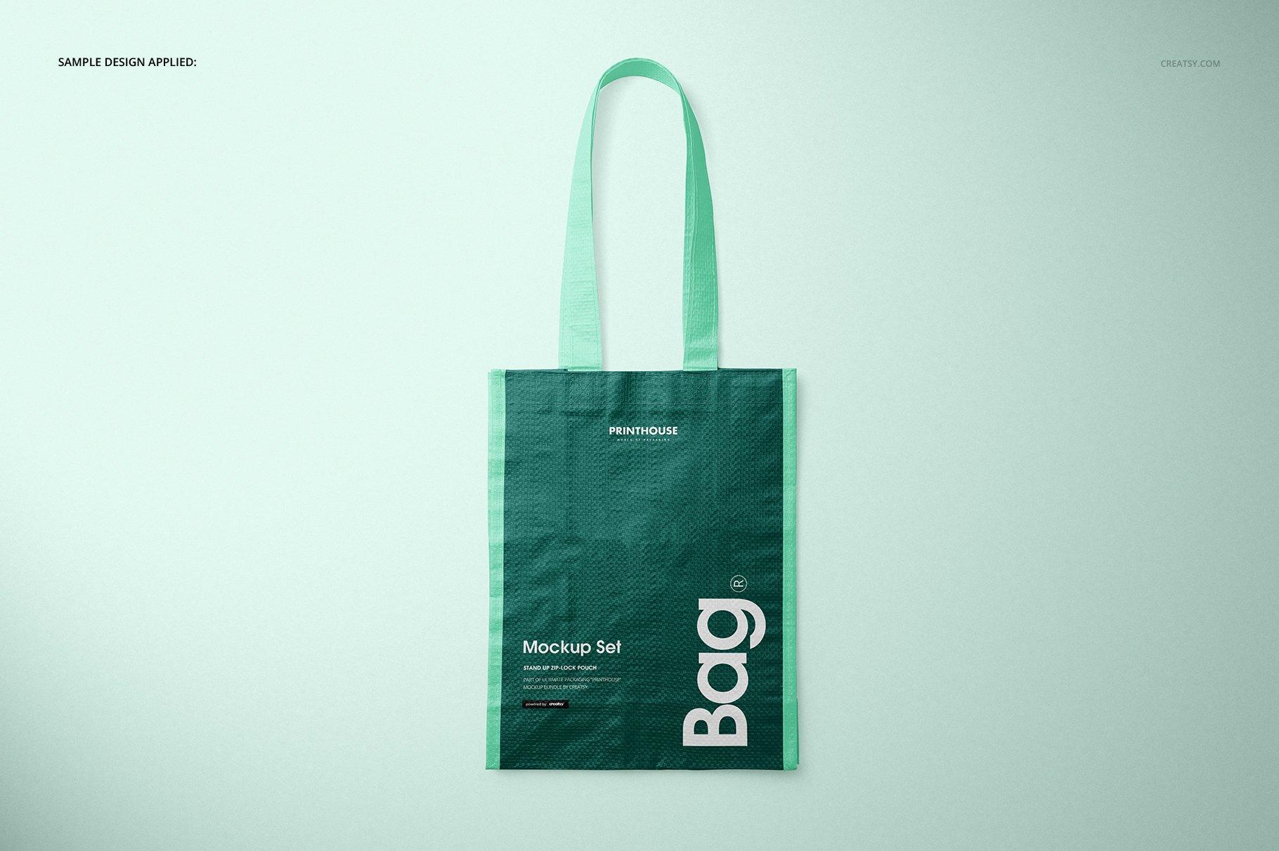 时尚编织手提购物袋设计展示贴图样机模板合集 Woven Tote Bag Mockup Set插图(6)