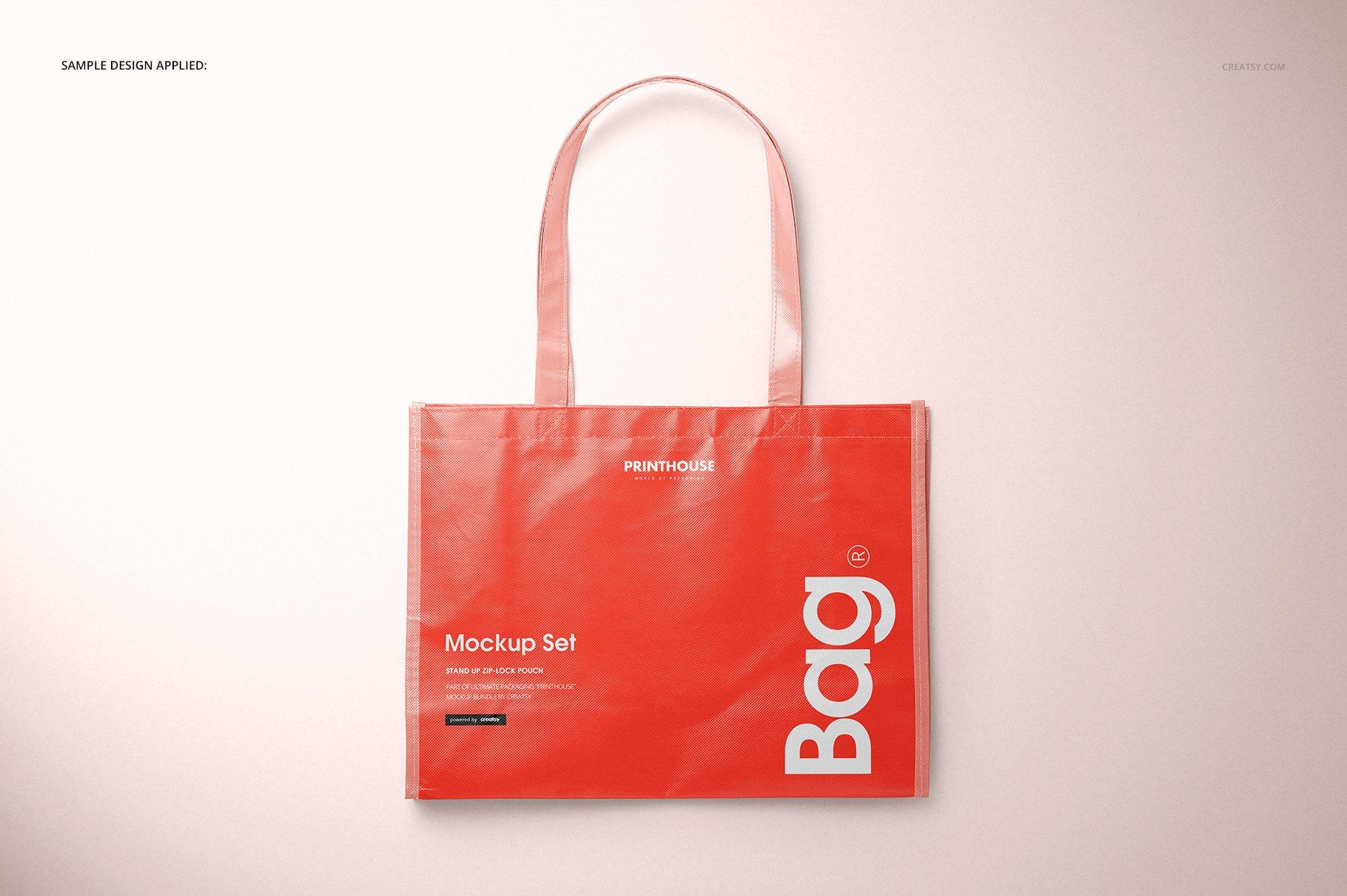 层压光面无纺布购物手提袋设计贴图样机模板套装 Laminated Non-Woven Tote Bag Mockups插图(6)