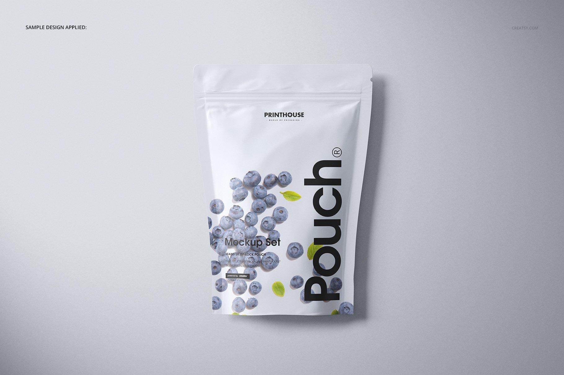 简约立式拉链锁食品自封袋塑料袋设计展示样机合集 Stand Up Pouch (mat) Mockup Set插图(6)