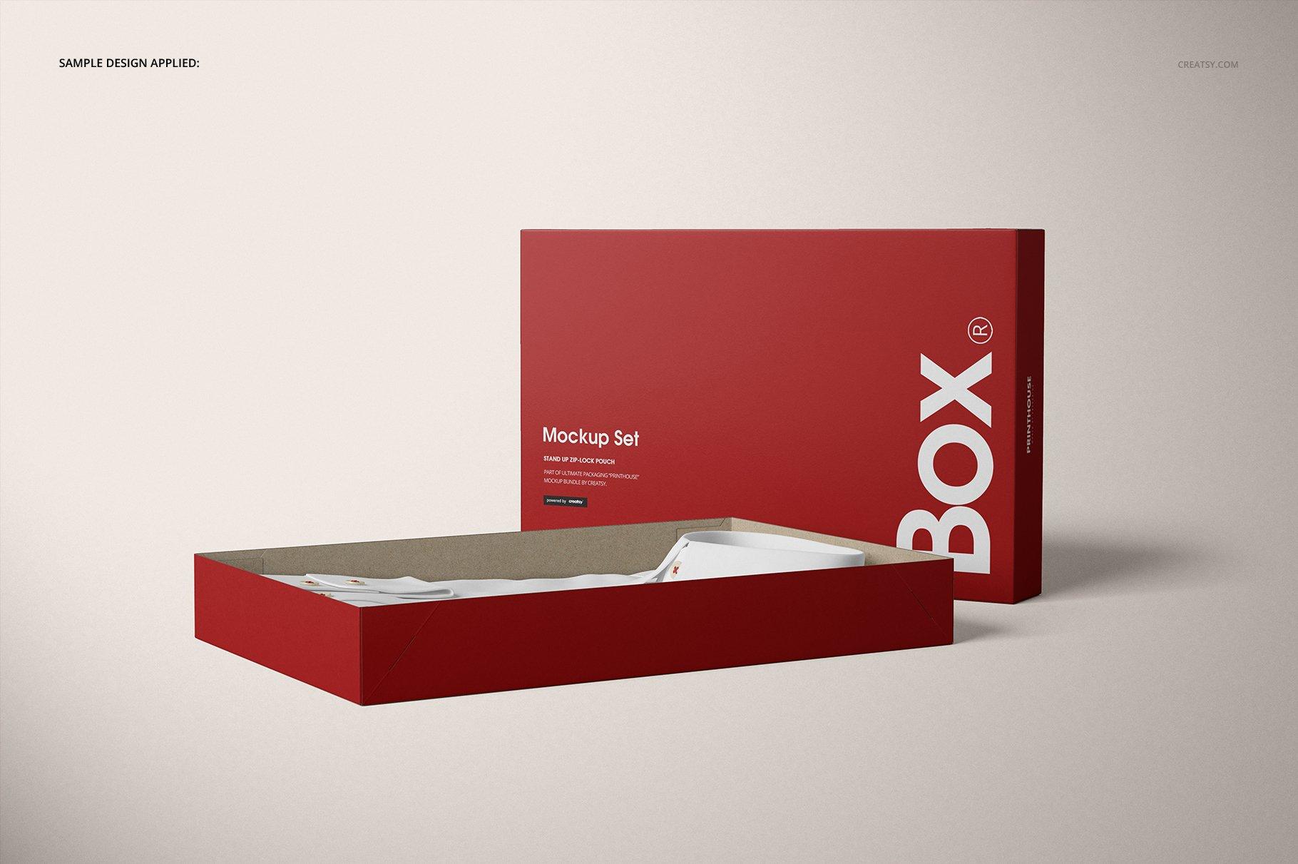 现代时尚服装纸盒设计展示贴图样机模板合集 2-Piece Apparel Box Mockup Set插图(7)