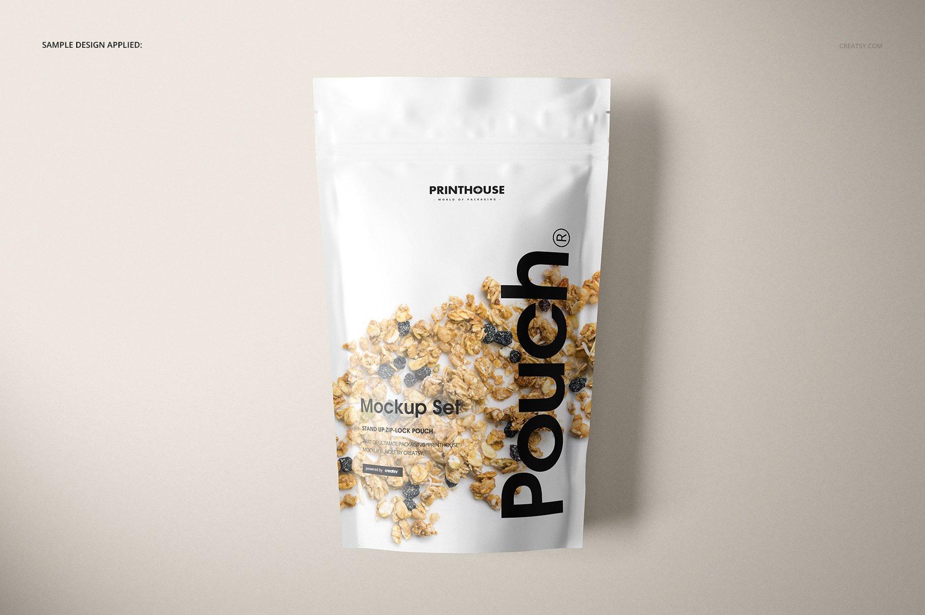 简约立式拉链锁食品自封袋塑料袋设计展示样机合集 Stand Up Pouch Mockup Set 2插图(6)