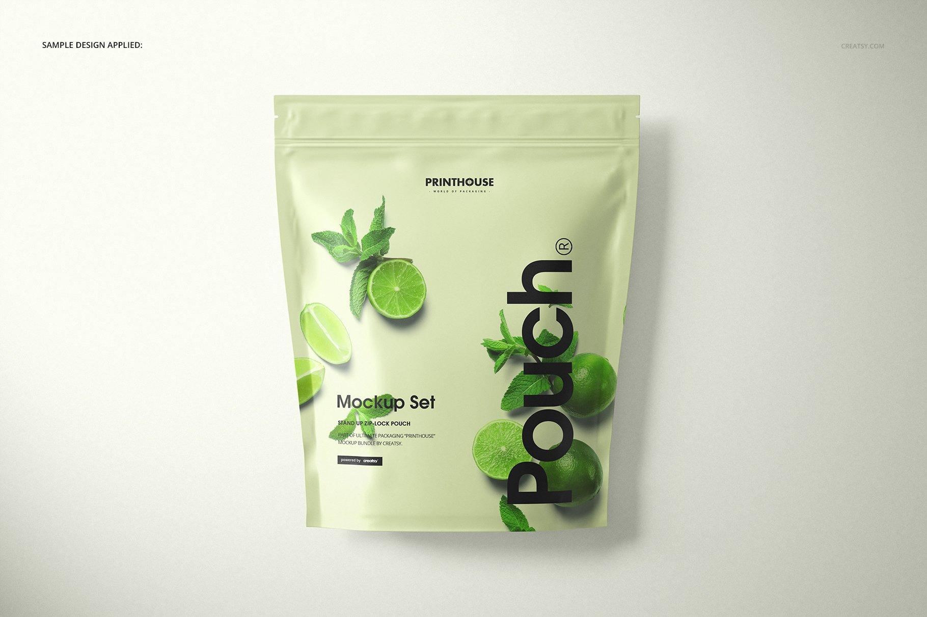 自立袋拉链锁自封袋塑料袋设计展示样机模板合集 Stand Up Zip Lock Pouch Mockup Set 3插图(6)