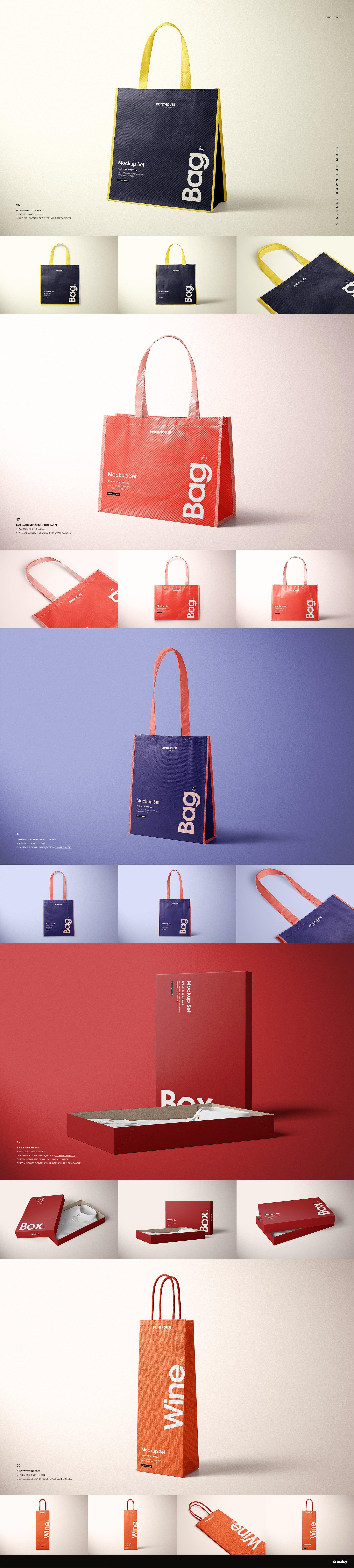 [淘宝购买] 273款时尚购物手提纸袋快递气泡塑料袋纸箱设计贴图PSD样机 Printhouse Mockups Bundle v.1插图(8)