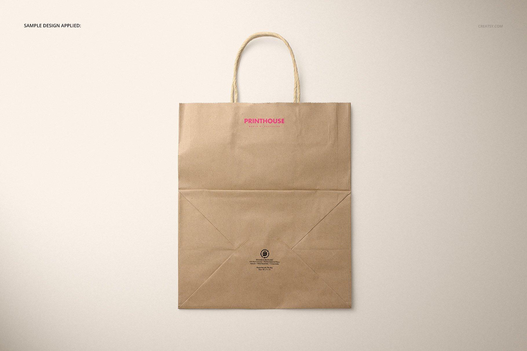 [淘宝购买] 时尚牛皮纸购物手提纸袋设计贴图样机模板 Natural Kraft Shopping Bag Mockup 2插图(7)