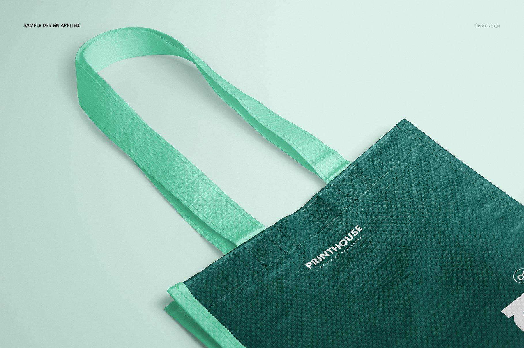 时尚编织手提购物袋设计展示贴图样机模板合集 Woven Tote Bag Mockup Set插图(7)