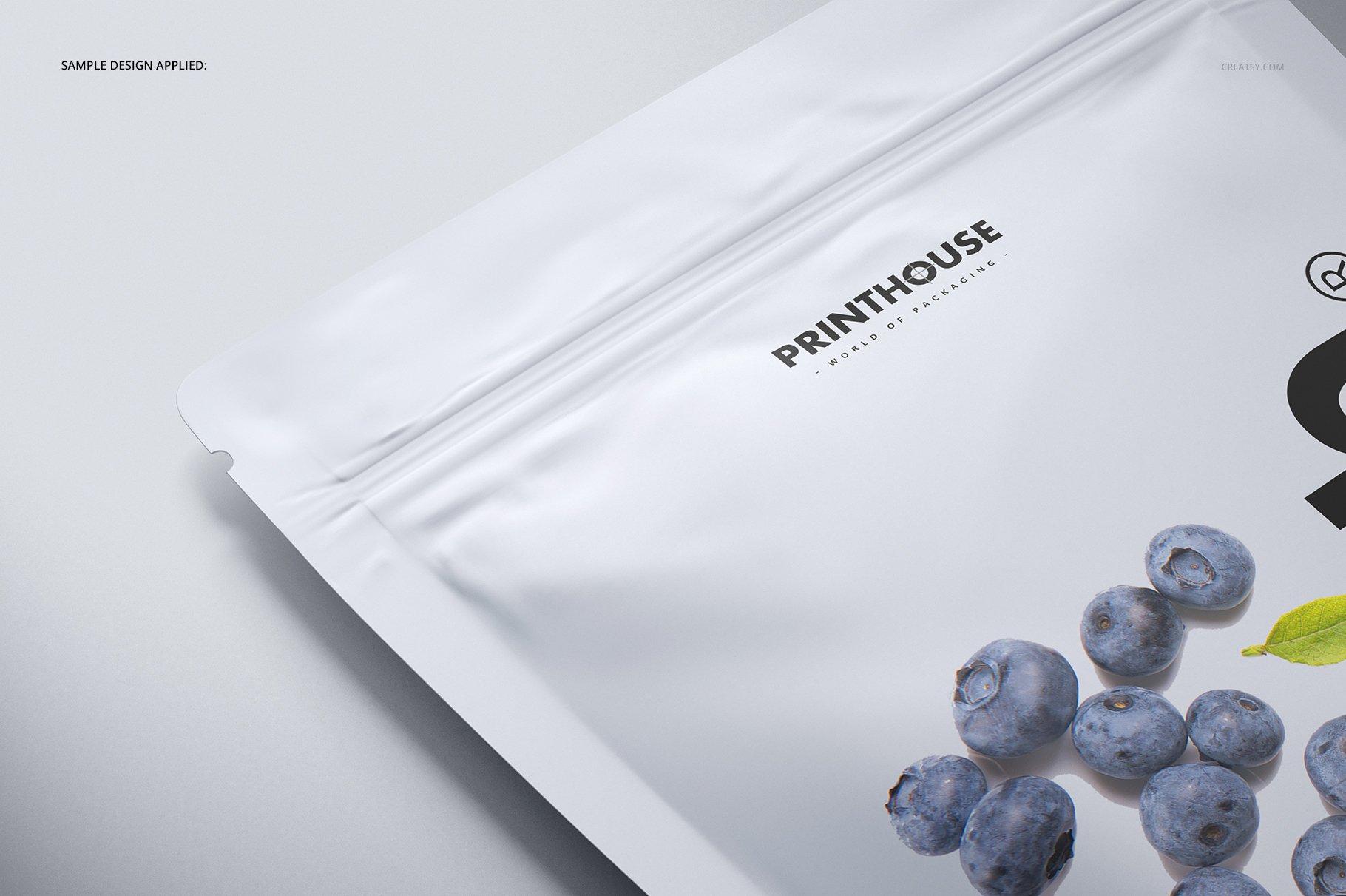 简约立式拉链锁食品自封袋塑料袋设计展示样机合集 Stand Up Pouch (mat) Mockup Set插图(7)
