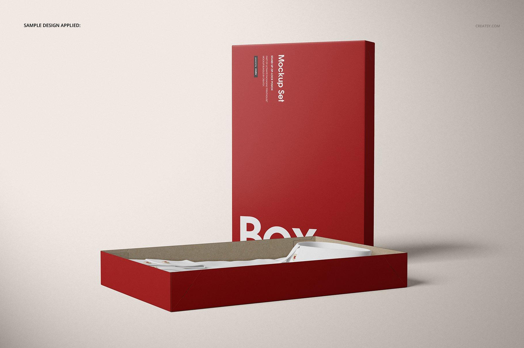 现代时尚服装纸盒设计展示贴图样机模板合集 2-Piece Apparel Box Mockup Set插图(8)