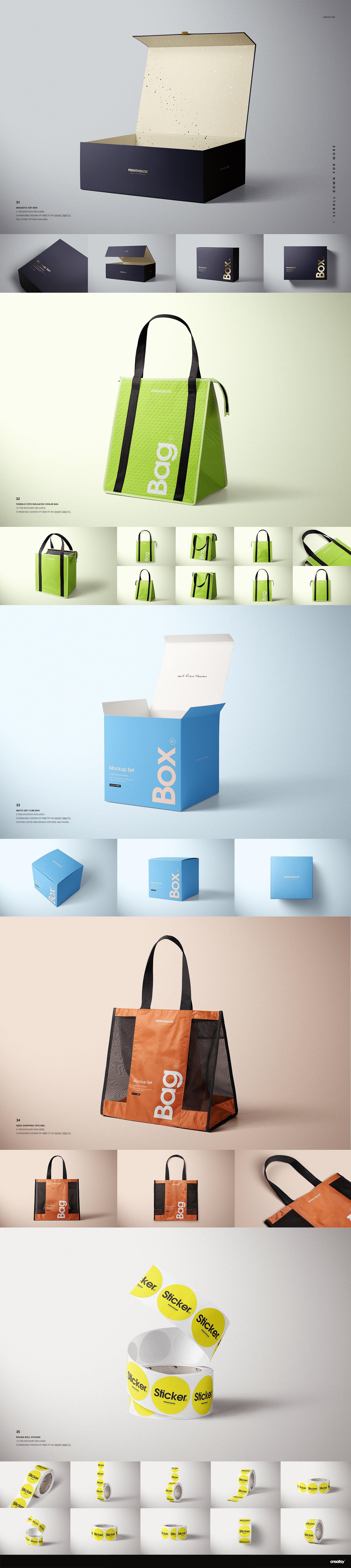 [淘宝购买] 273款时尚购物手提纸袋快递气泡塑料袋纸箱设计贴图PSD样机 Printhouse Mockups Bundle v.1插图(11)